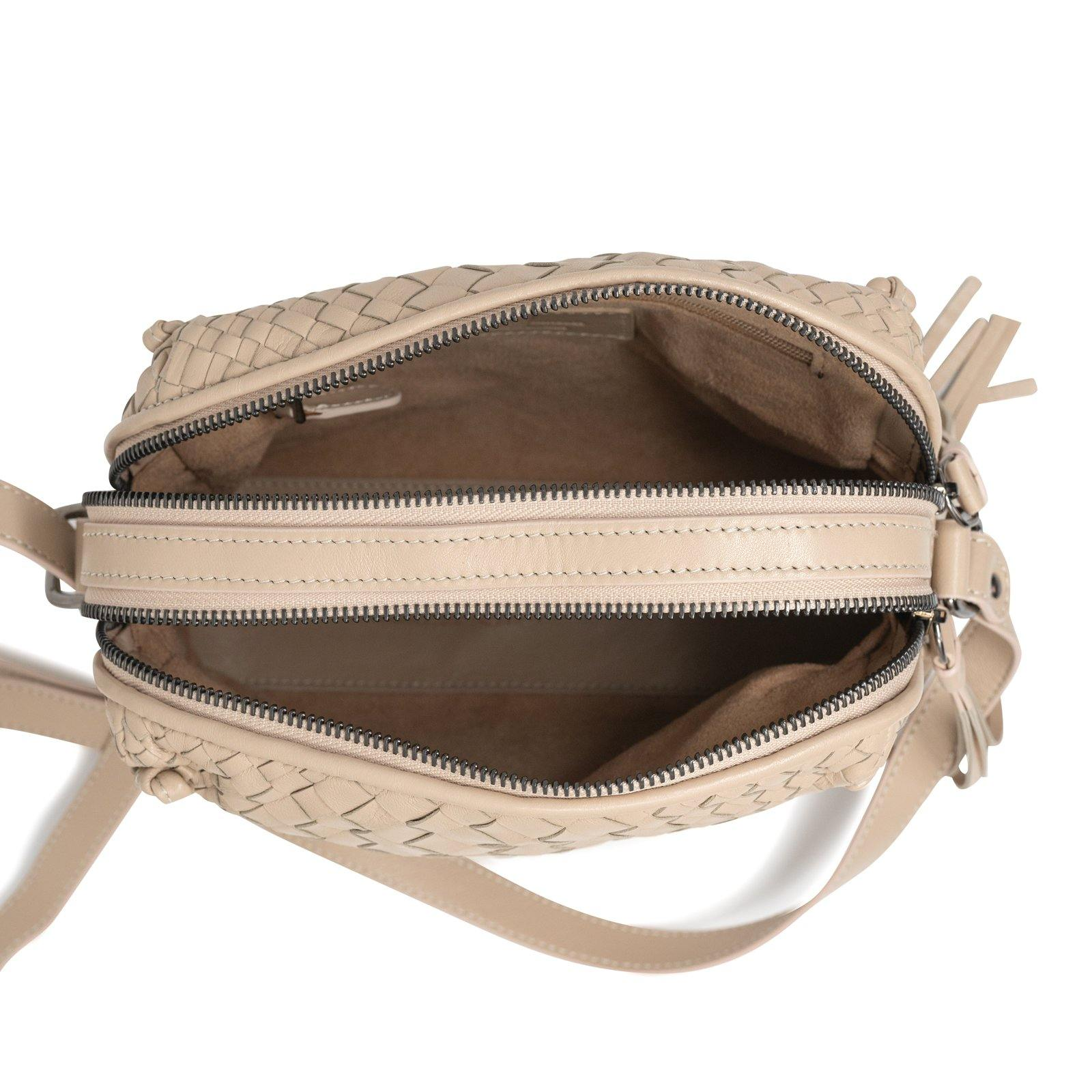 Women Crossbody Leather Bag Intrecciato Optical Nappa Riso