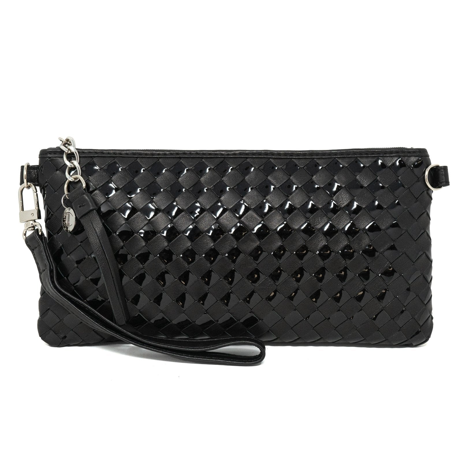 Women Intrecciato Black Patent Leather Small Soft Clutch Intreccio Quadro - Jennifer Tattanelli