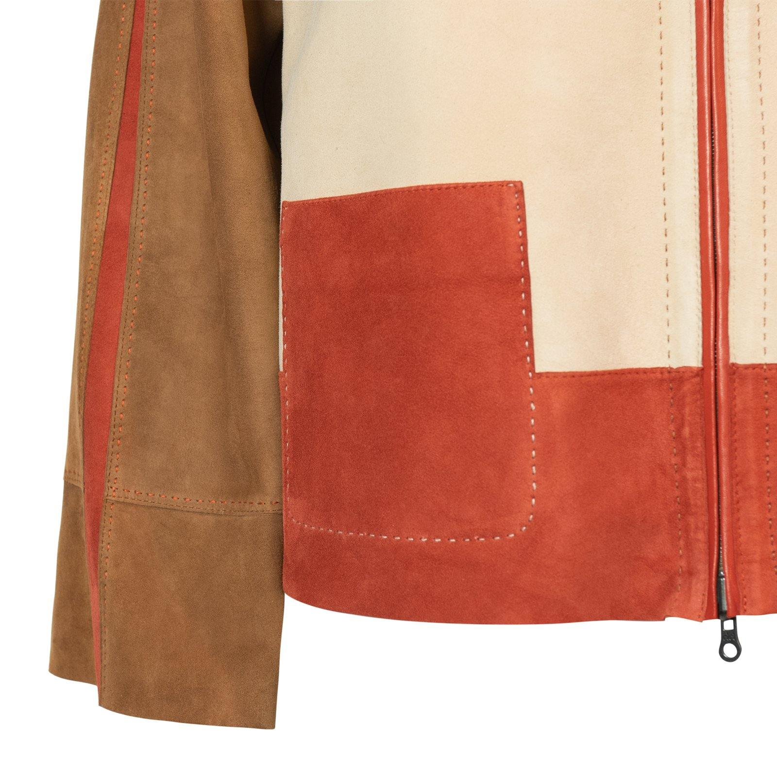 HEPBURN Reversible Leather Jacket in Cuoio, Nude and Mattone