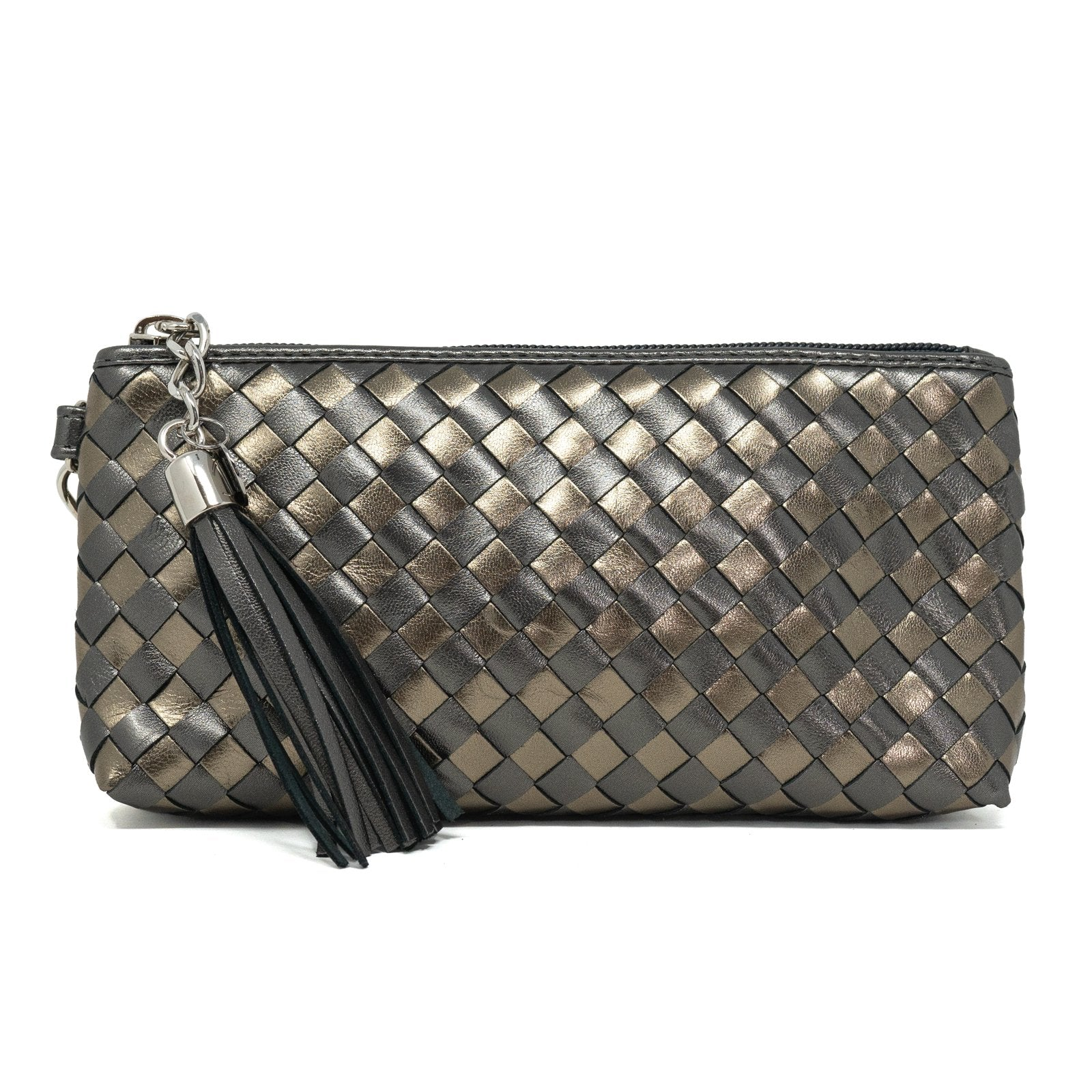 Women Intrecciato Leather Small Soft Pouch Gun Metal Intreccio Quadro - Jennifer Tattanelli