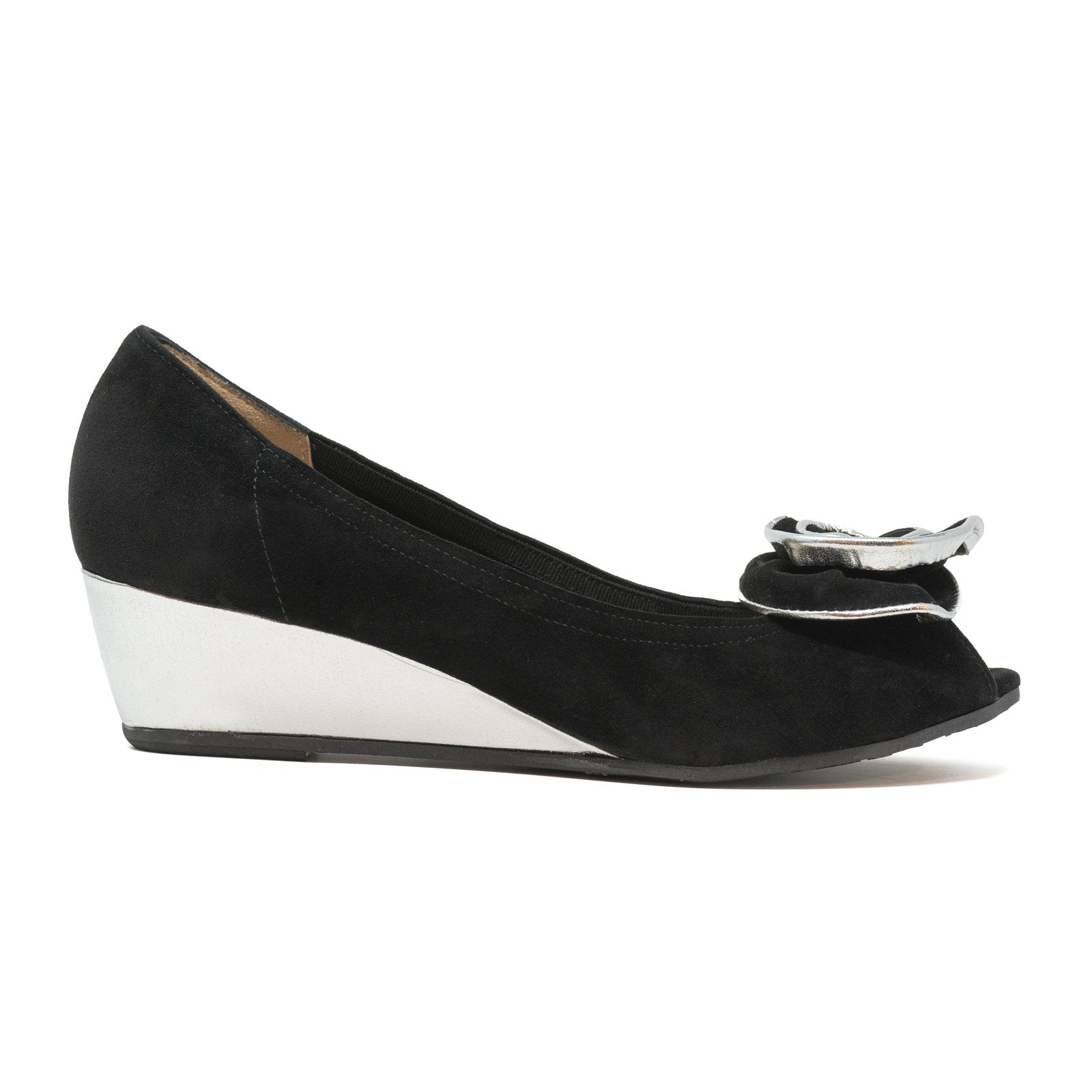 Women Open-Toe Wedges in Suede Black - Jennifer Tattanelli