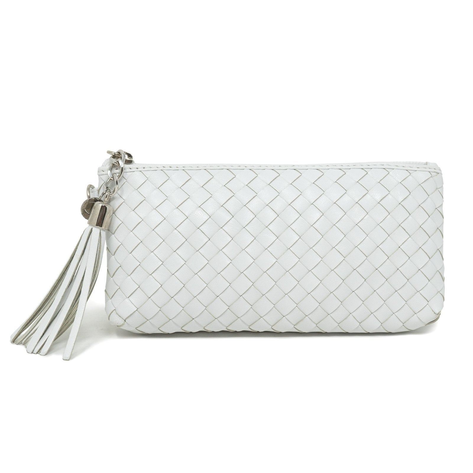 Women Intrecciato Leather Small Soft Pouch White Intreccio Quadro - Jennifer Tattanelli