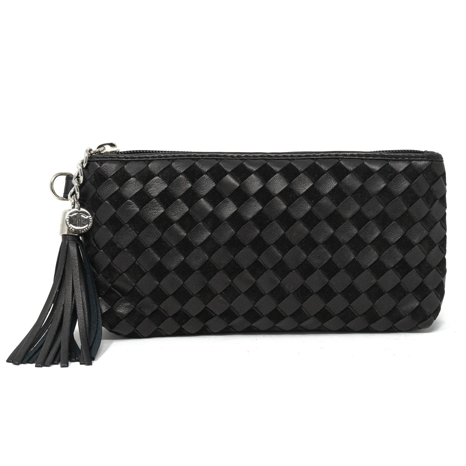 Women Intrecciato Black Nappa and Suede Small Soft Pouch Intreccio Quadro - Jennifer Tattanelli