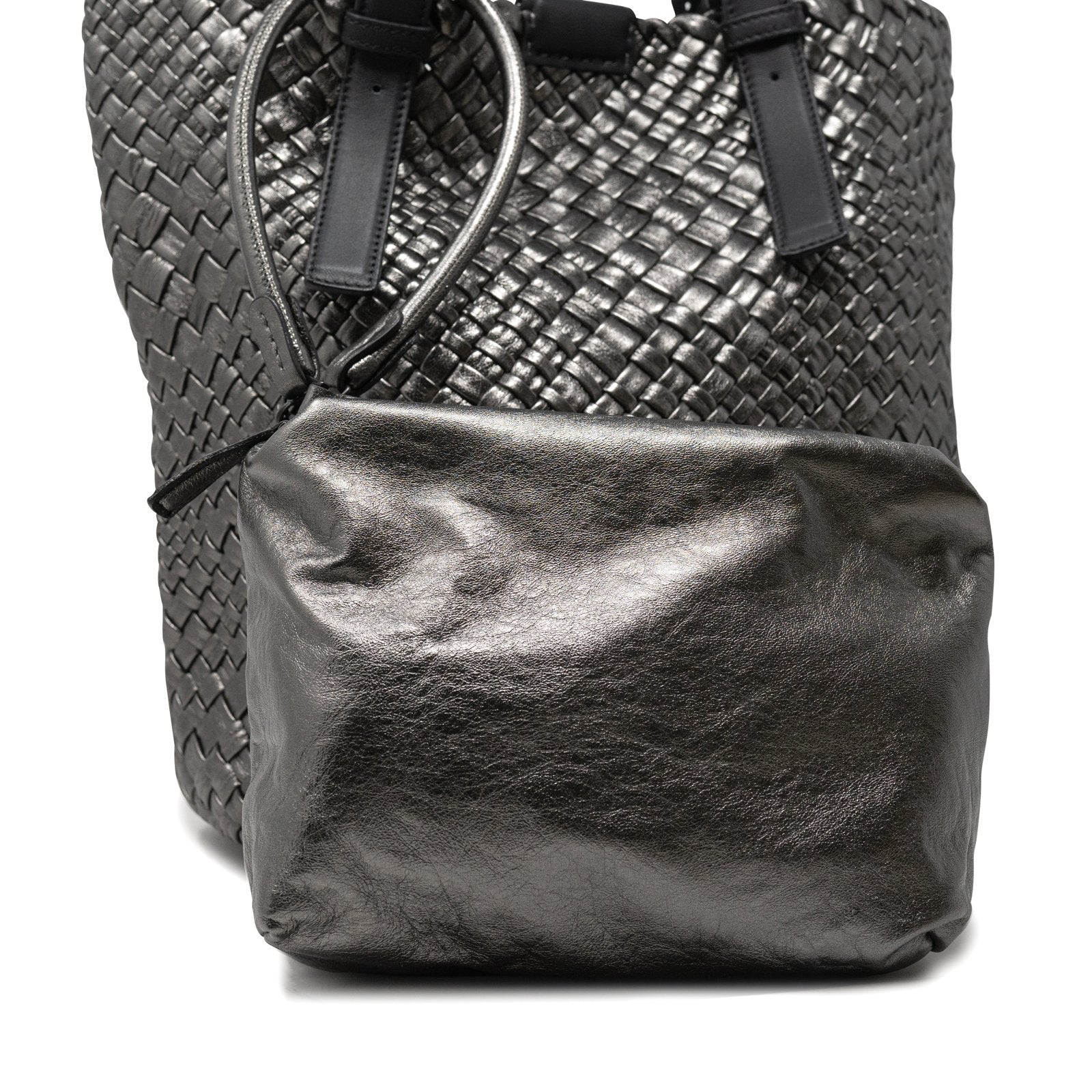 Women Intrecciato Long Tote Bag in Gun Metal - Jennifer Tattanelli