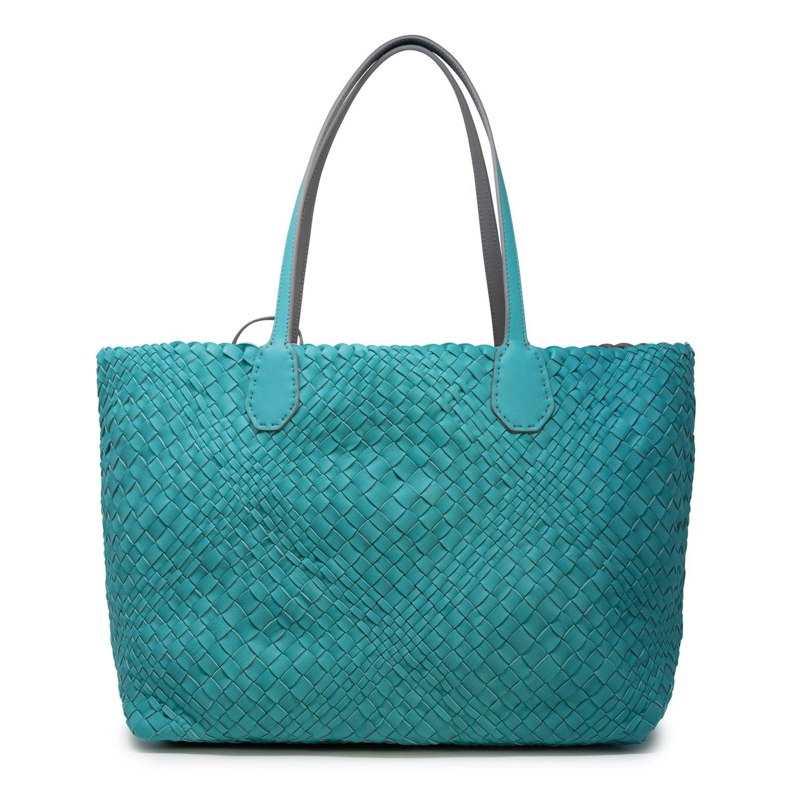 Women Leather Intreccio Optical Reversible Bag in Blue Marine and Grey - Jennifer Tattanelli