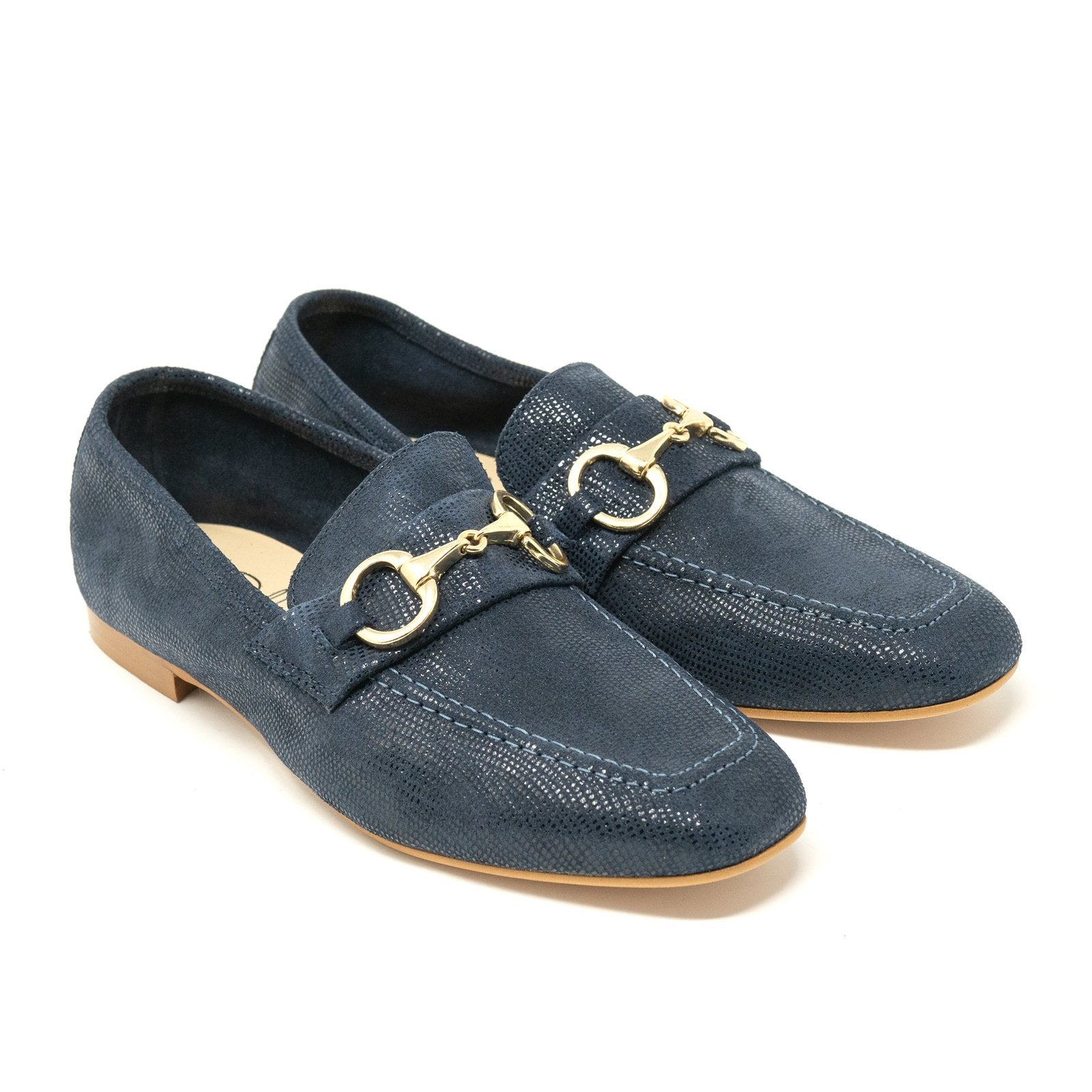 Women Horsebit Loafers in Blue - Jennifer Tattanelli