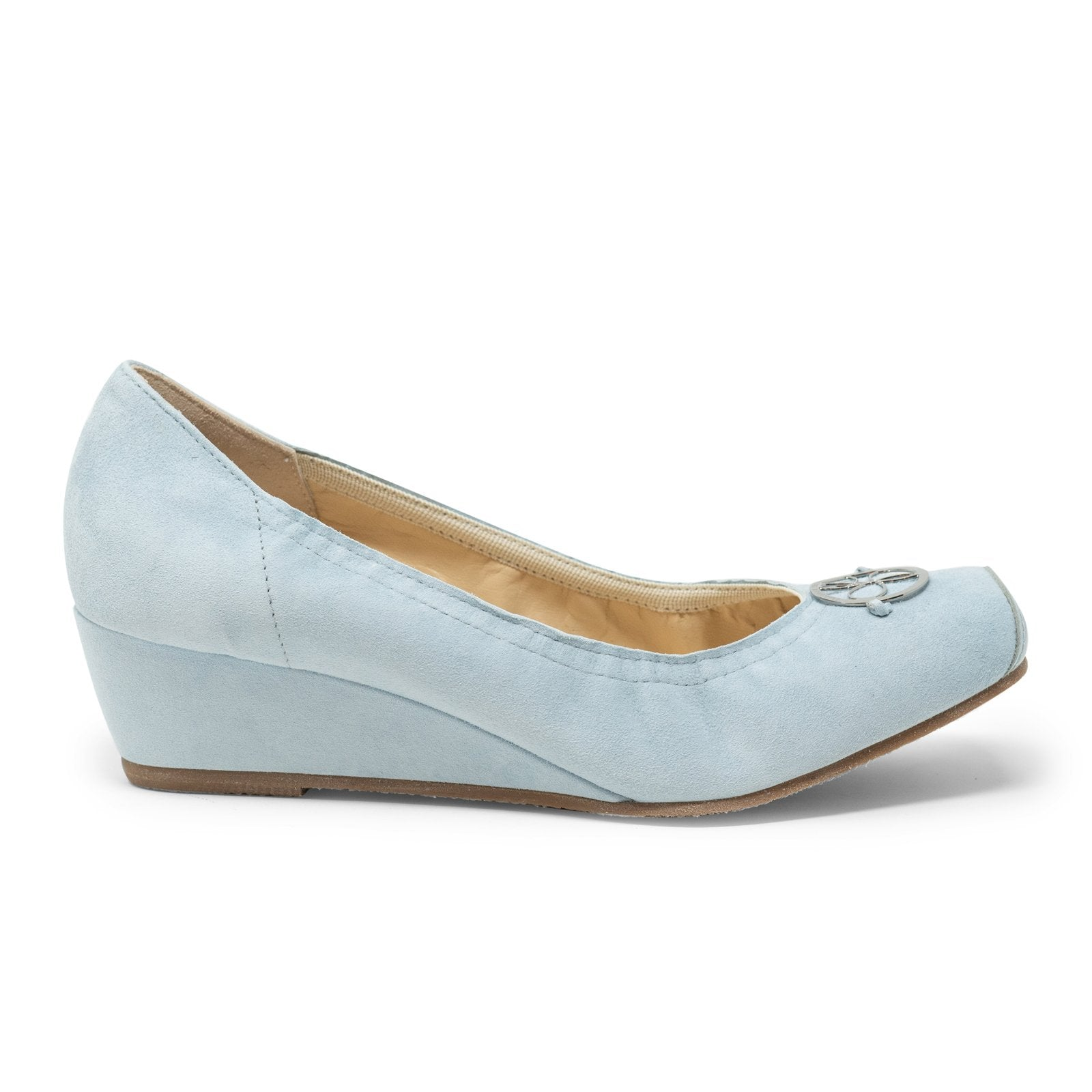 Women Ballerina with Wedge in Suede Foschia - Jennifer Tattanelli