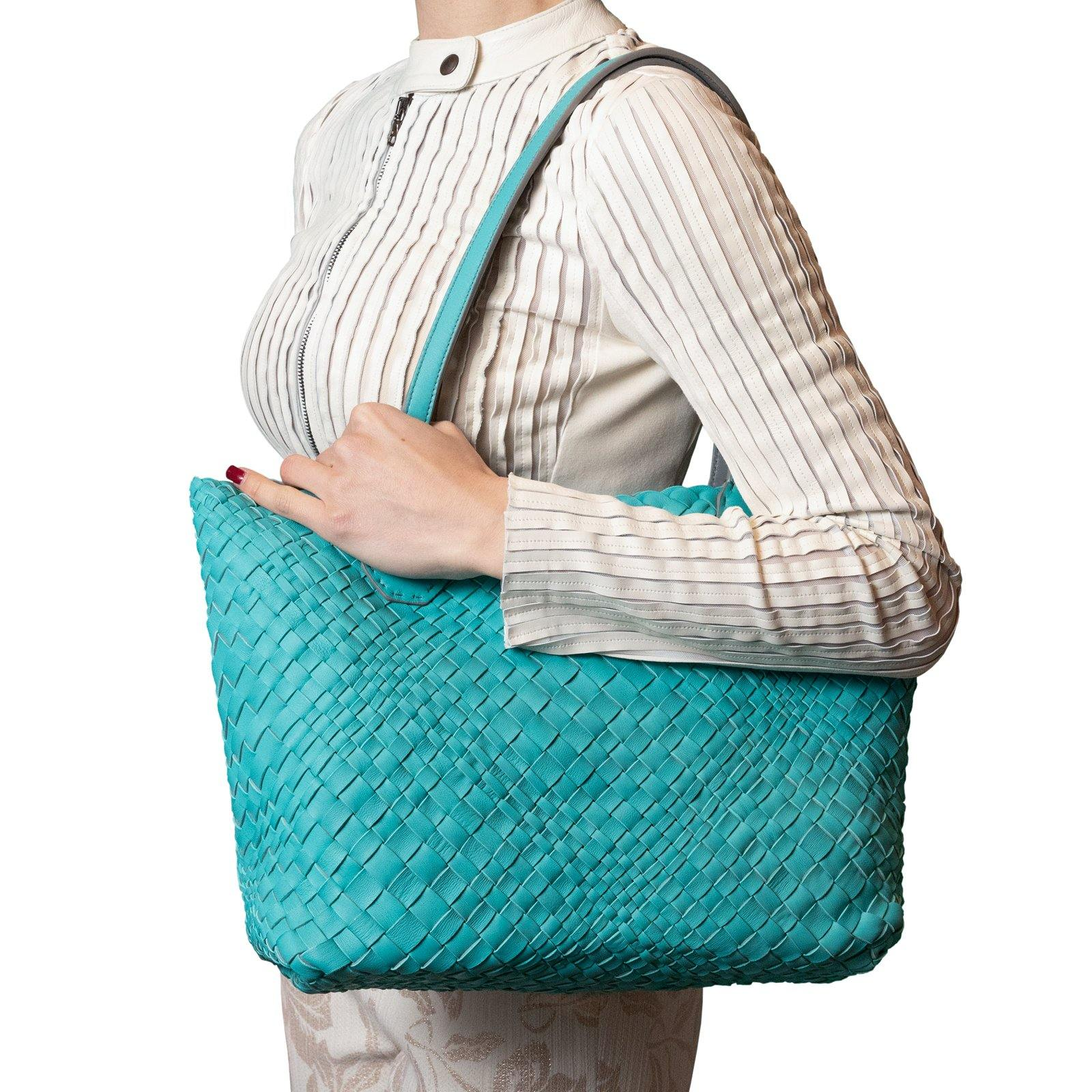 Women Leather Intreccio Optical Leather Bag in Marine and Grey - Jennifer Tattanelli