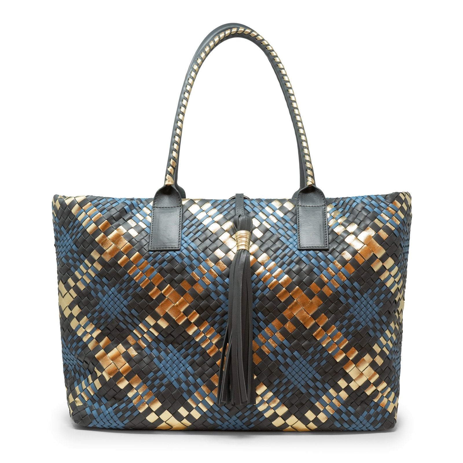 Sophia Maxi Zippered Intrecciato Scozzese Bag in Gold - Jennifer Tattanelli
