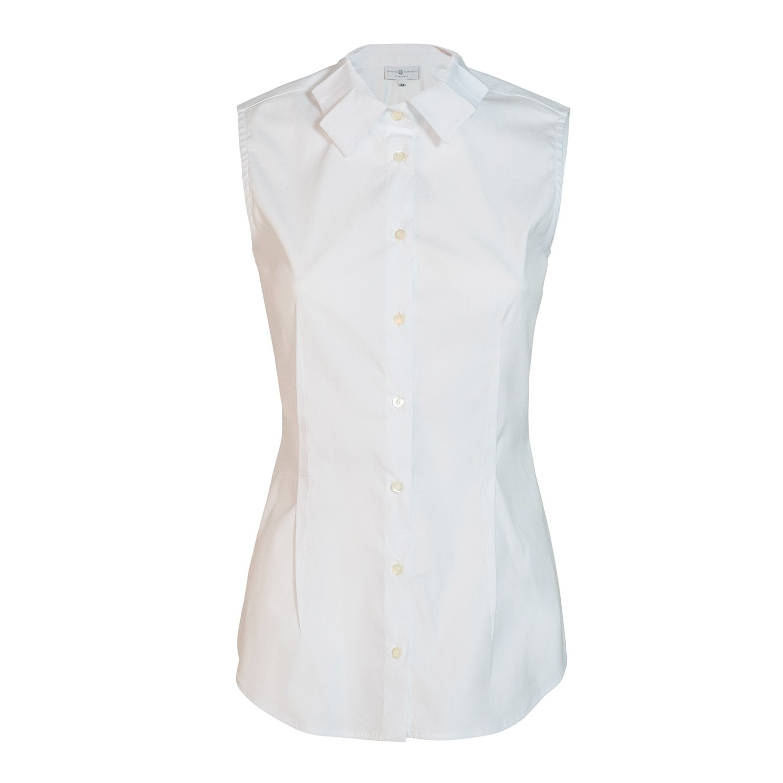 Women Sleeveless Cotton Shirt In White - Jennifer Tattanelli