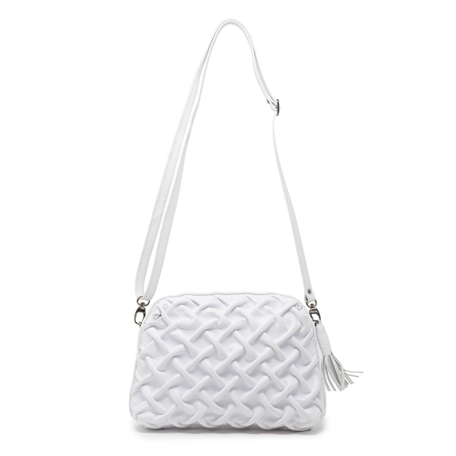 Women White Nappa Leather Soft Clutch