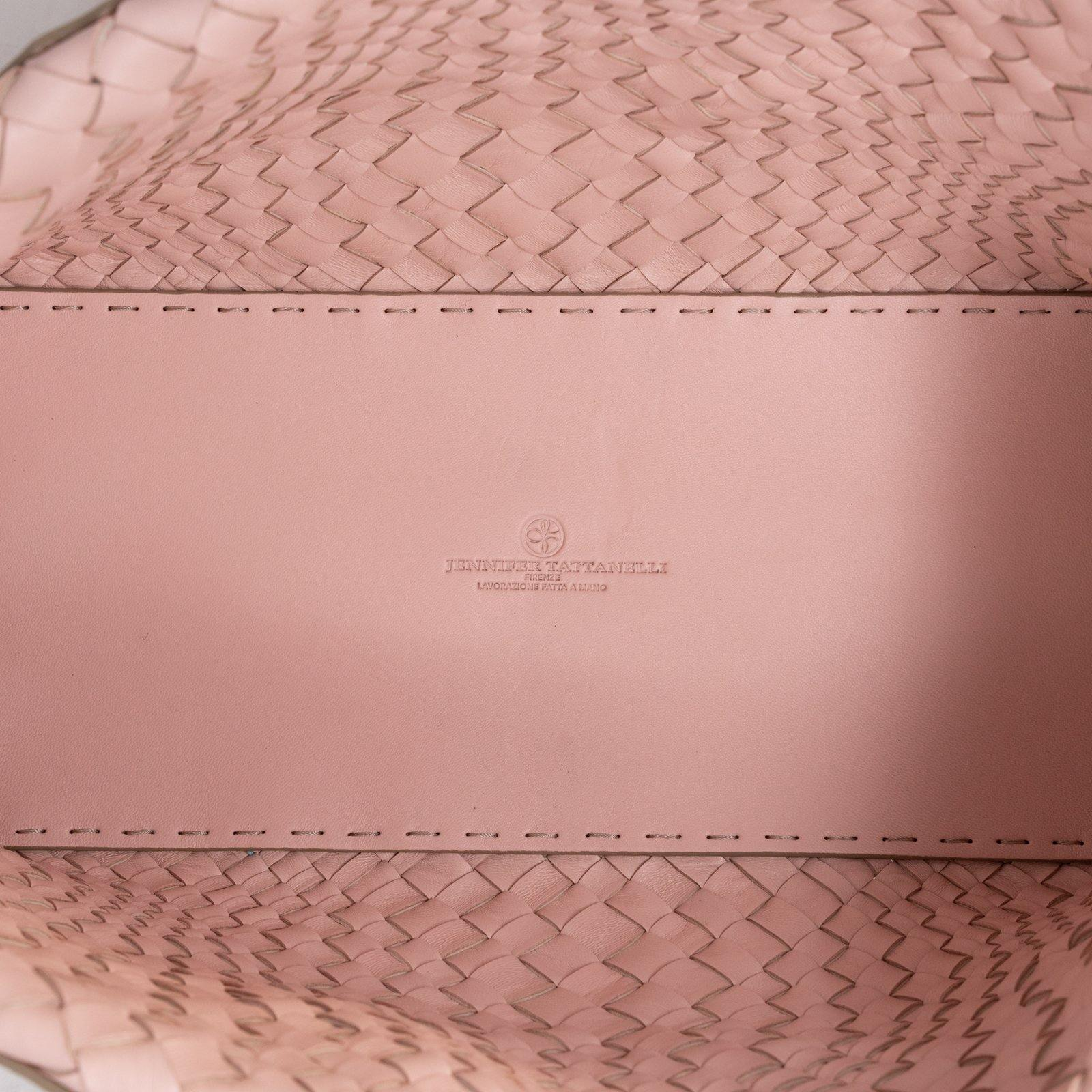 Women Leather Intreccio Optical Bag in Sabbia and Pink