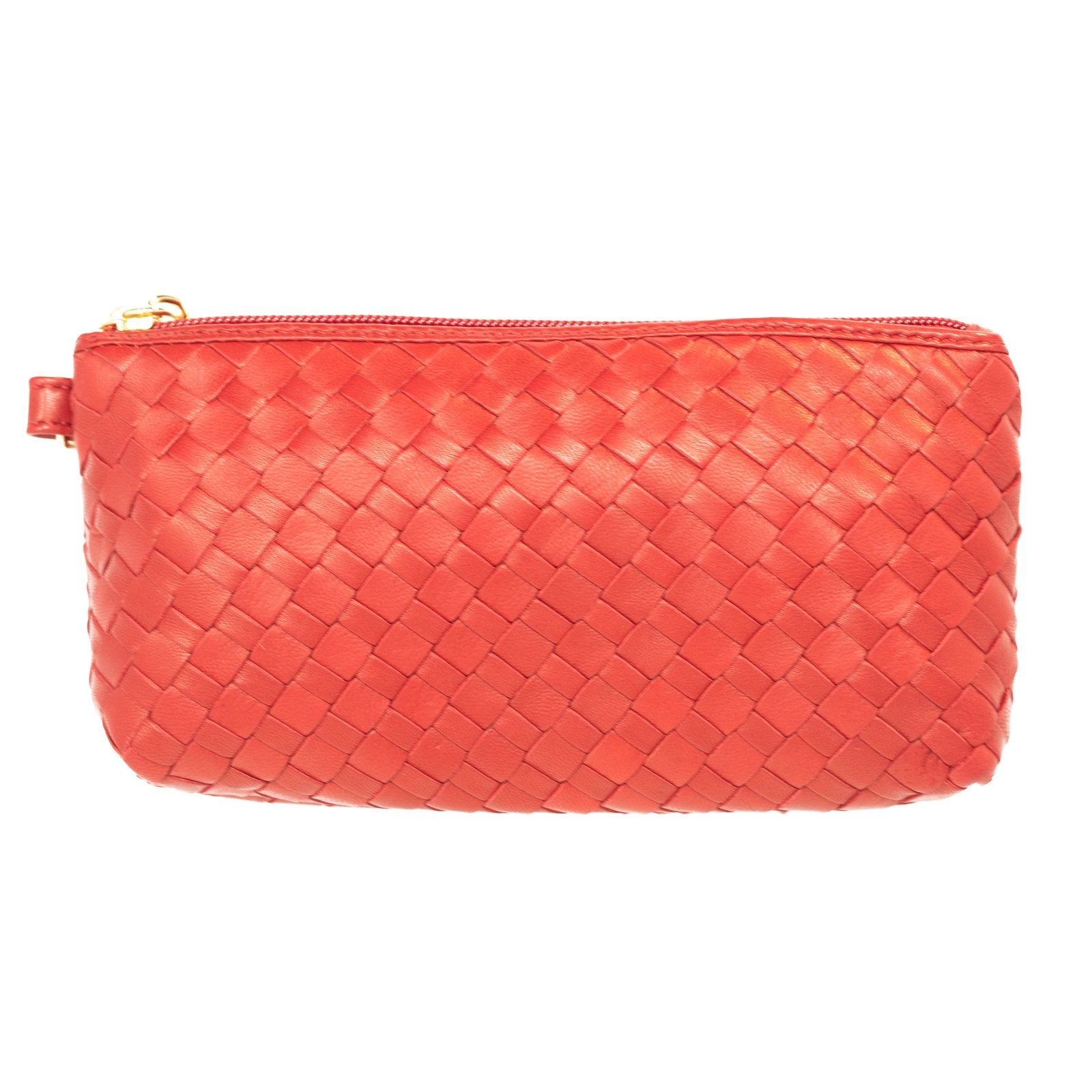 Women Intrecciato Leather Small Soft Pouch Red Intreccio Quadro - Jennifer Tattanelli