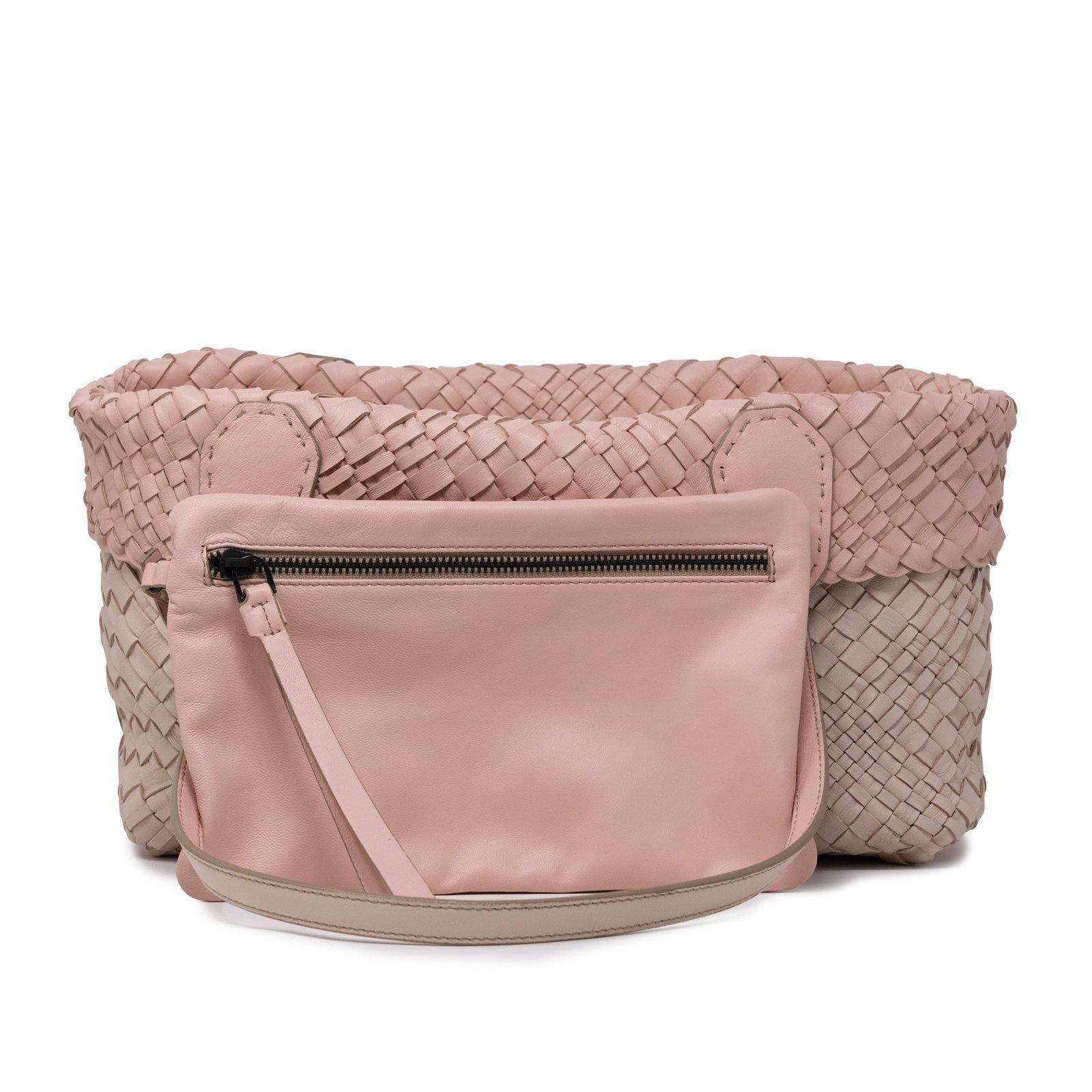 Women Leather Intreccio Optical Bag in Sabbia and Pink - Jennifer Tattanelli