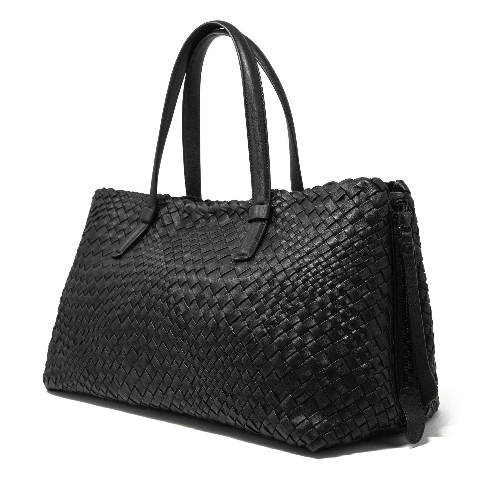 Women Intrecciato Optical Zippered Shopping Bag in Black - Jennifer Tattanelli