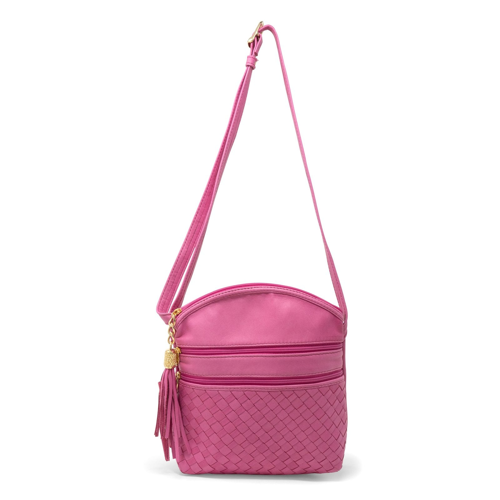 Women Intrecciato Leather Soft Messenger LUC963 Fucsia Quadro - Jennifer Tattanelli