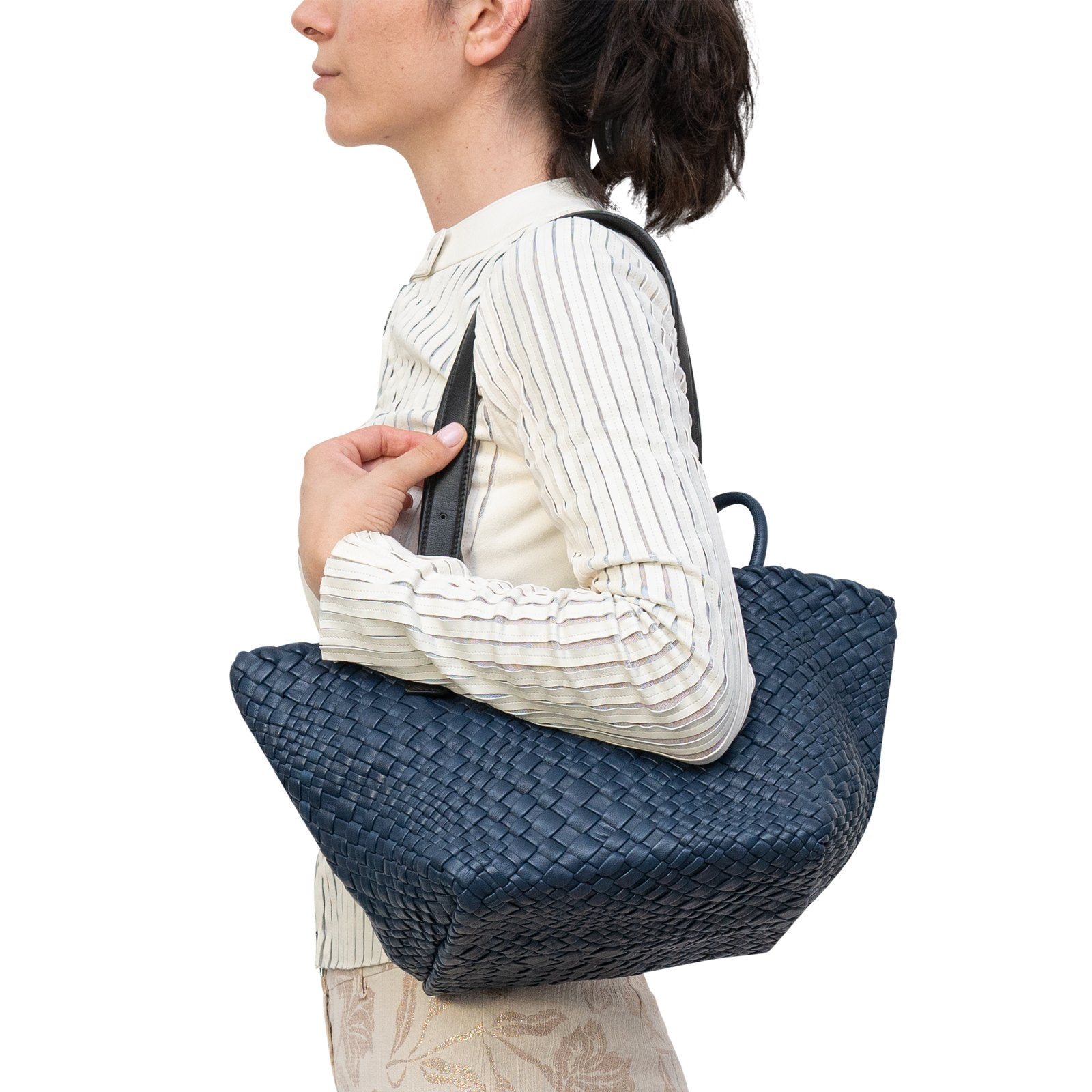 Women Intrecciato Squared Tote Bag in Navy Blue - Jennifer Tattanelli