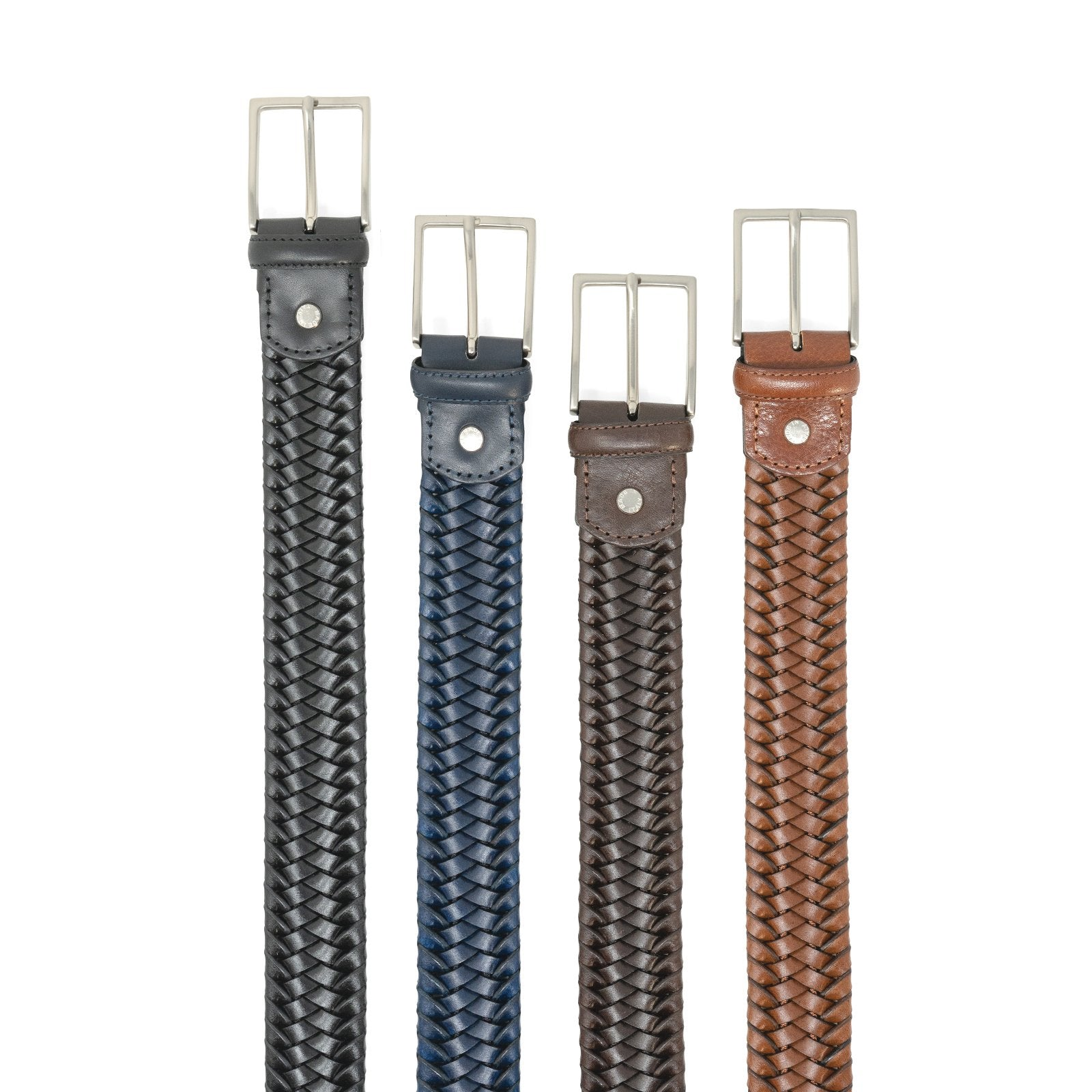 Unisex Leather Woven Belt in Brown - Jennifer Tattanelli