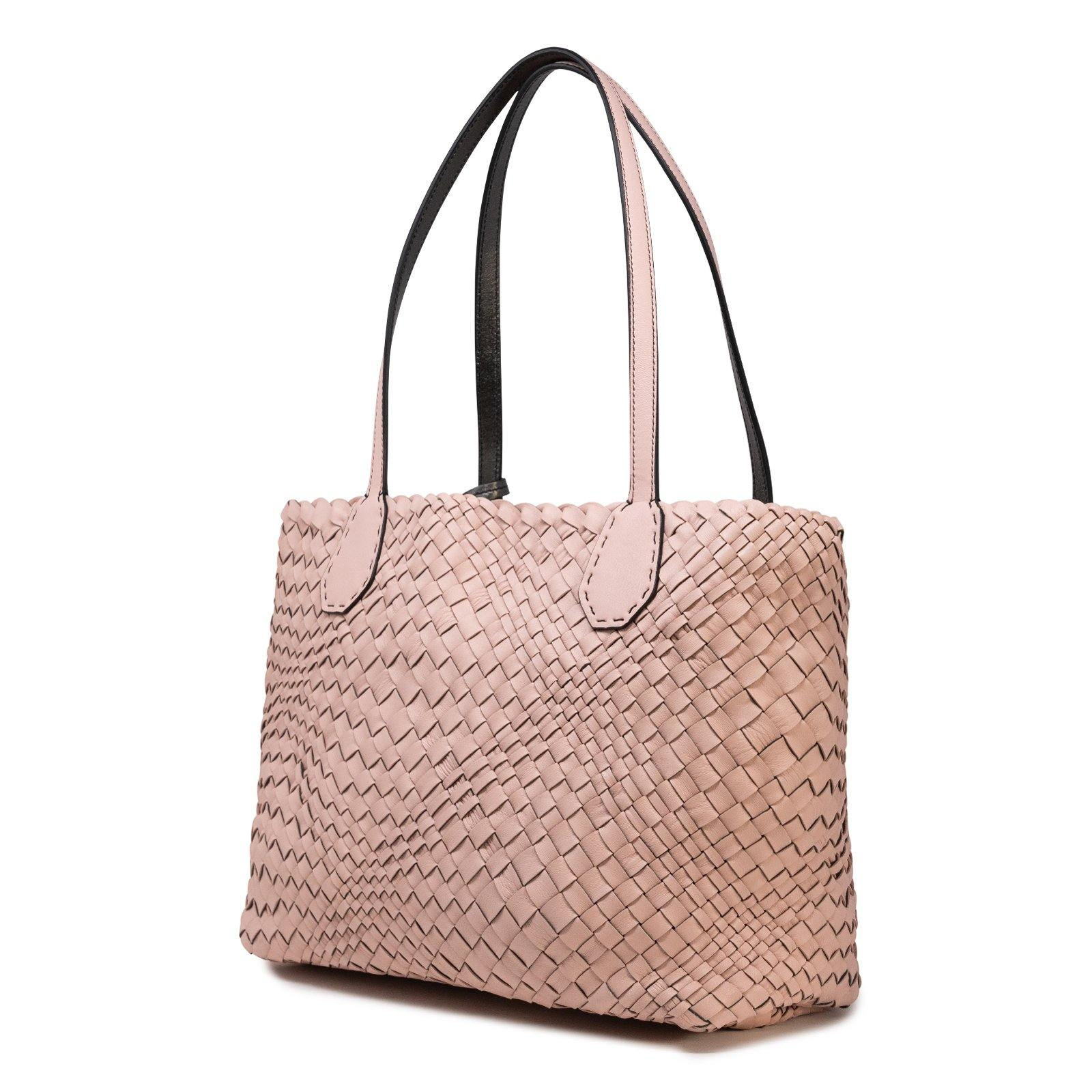 Women Leather Intreccio Optical Leather Bag in Pink and Putter