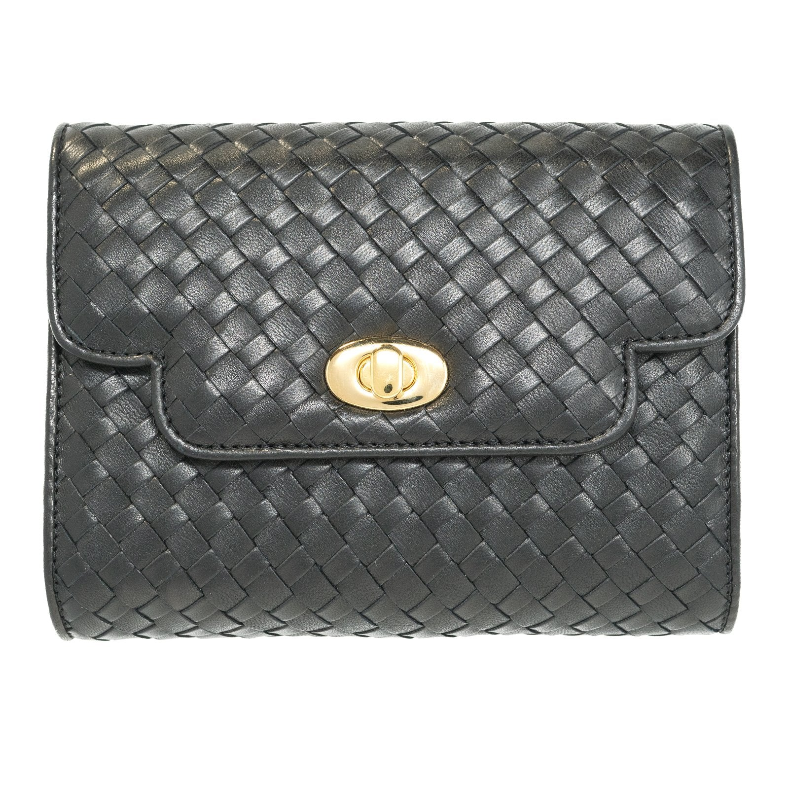 Women Intrecciato Leather Soft Clutch Black Quadro - Jennifer Tattanelli