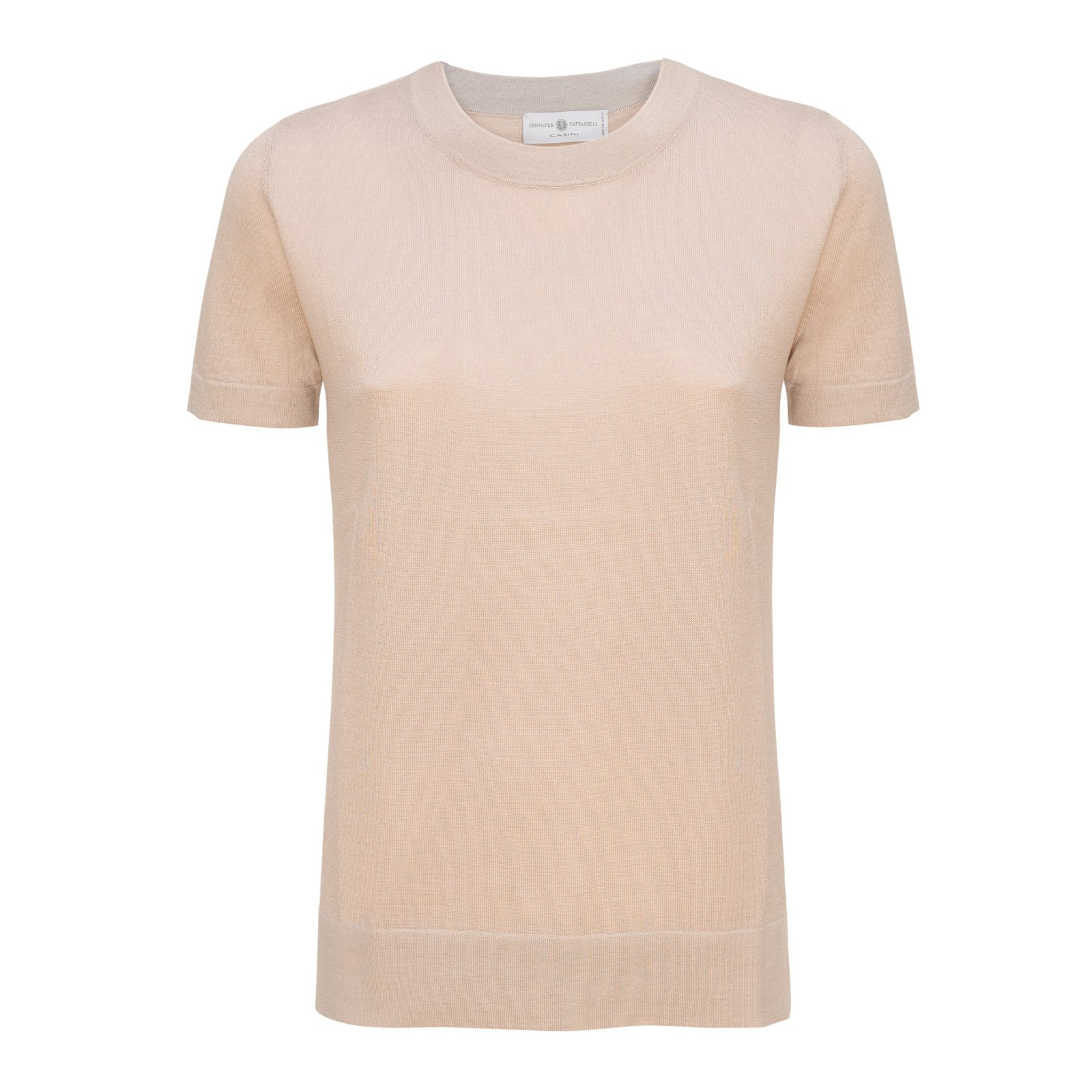 Women Cashmere Knitwear T-Shirt in Tortora - Jennifer Tattanelli