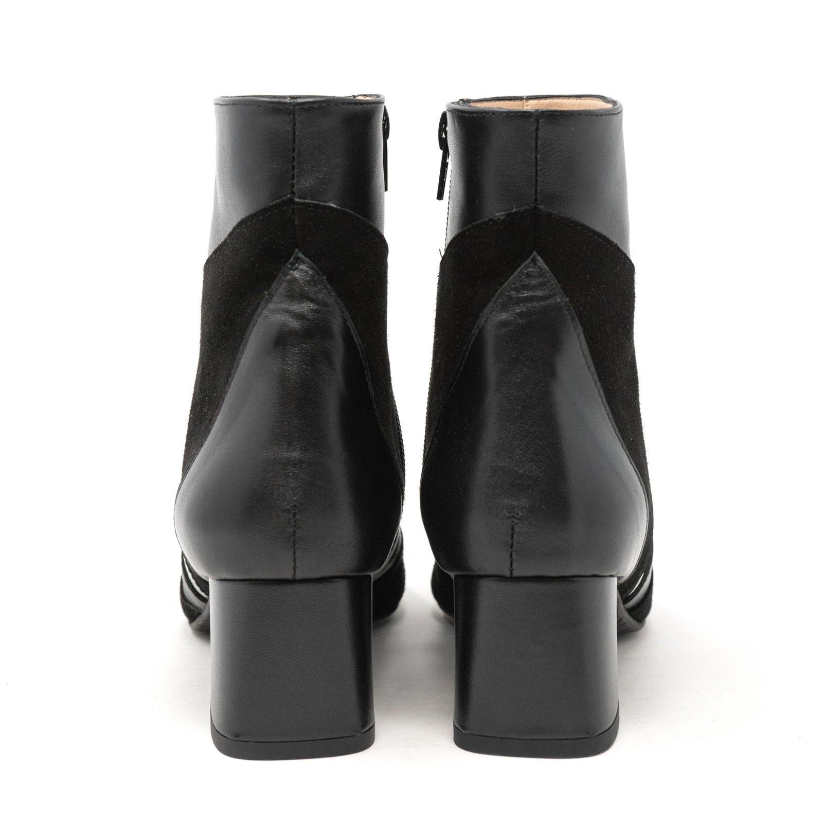 Women Dressy Leather Booties in Black Nappa