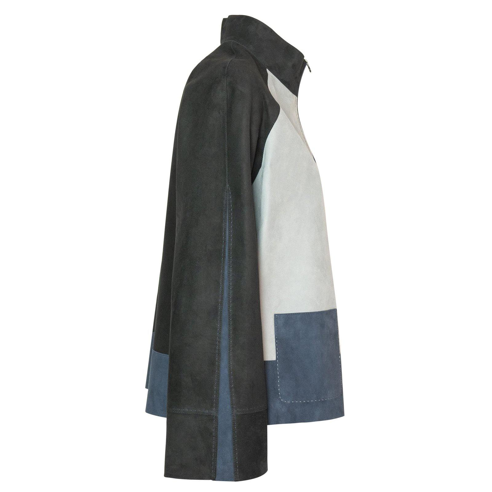 HEPBURN Reversible Leather Jacket in Black, Pearl Grey and Blue