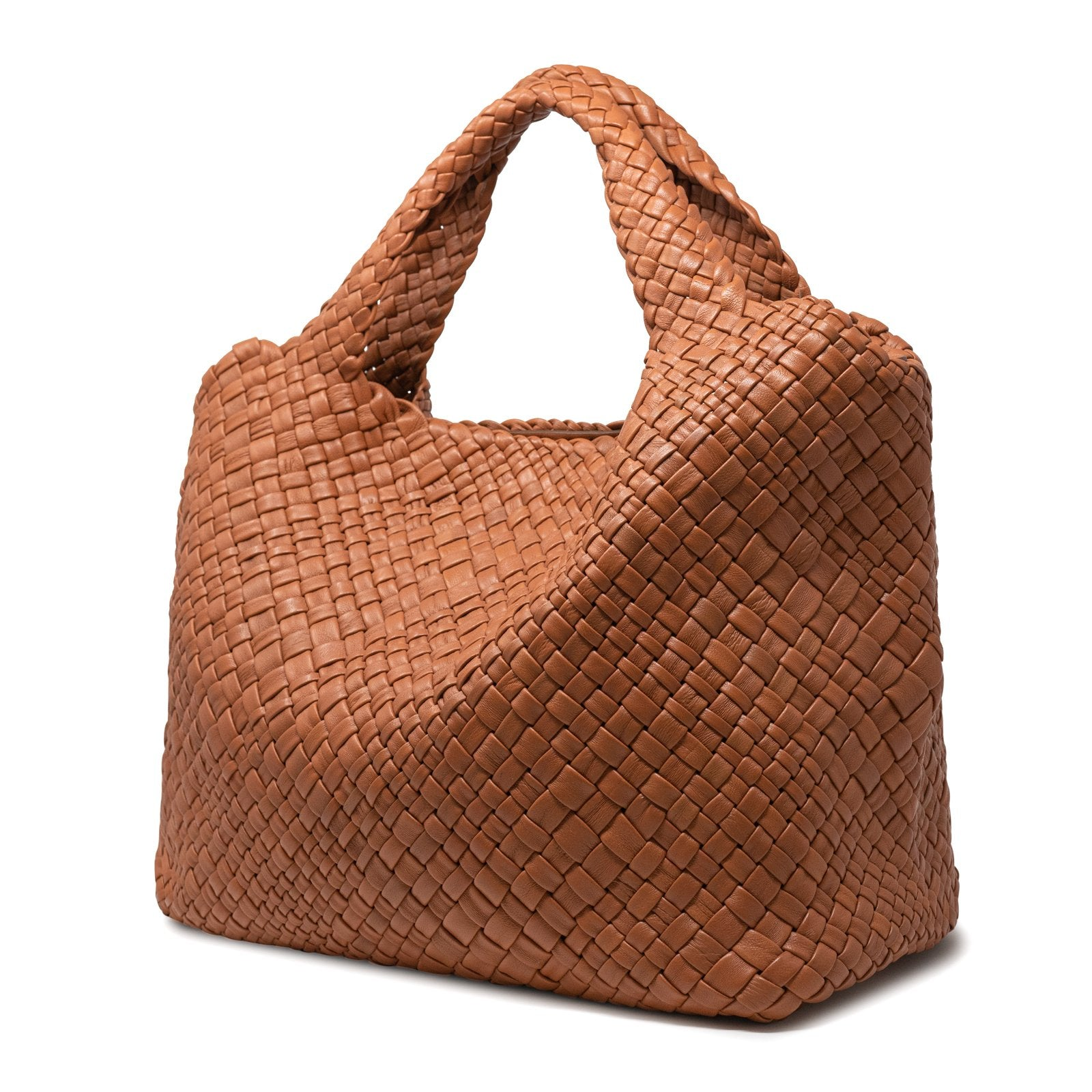 Women Intrecciato Optical Large Hobo-Tote in Cuoio - Jennifer Tattanelli