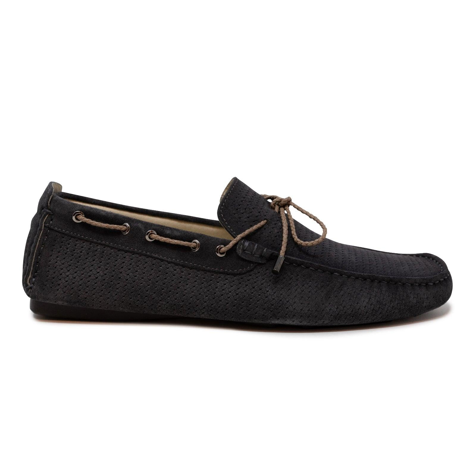 Men's Car Shoes in Velour Antracite Leather
