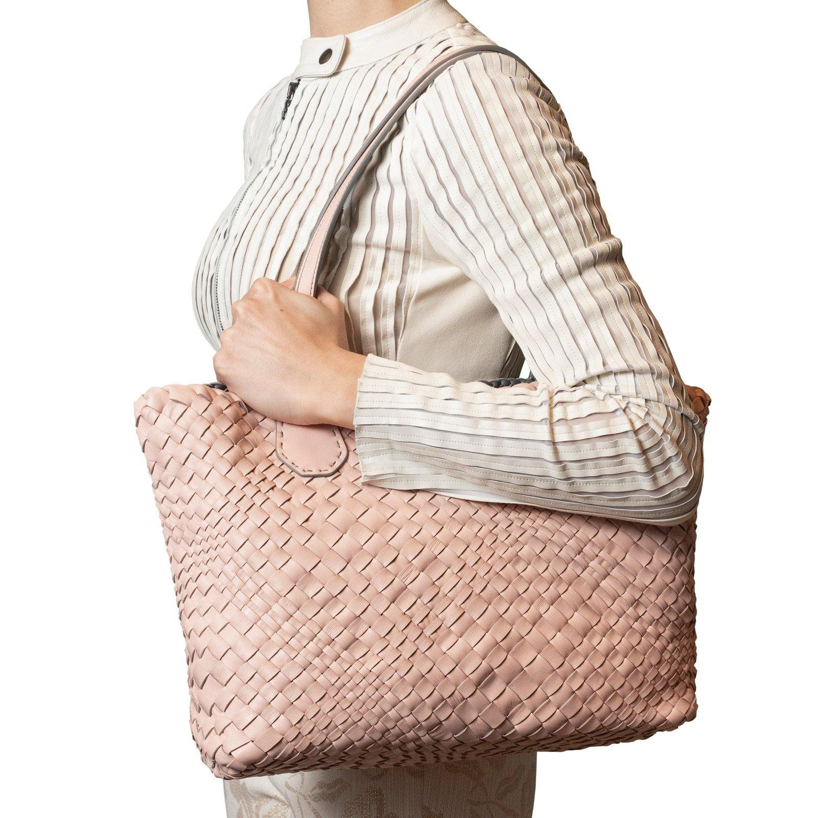 Women Leather Intreccio Optical Leather Bag in Pink and Grey