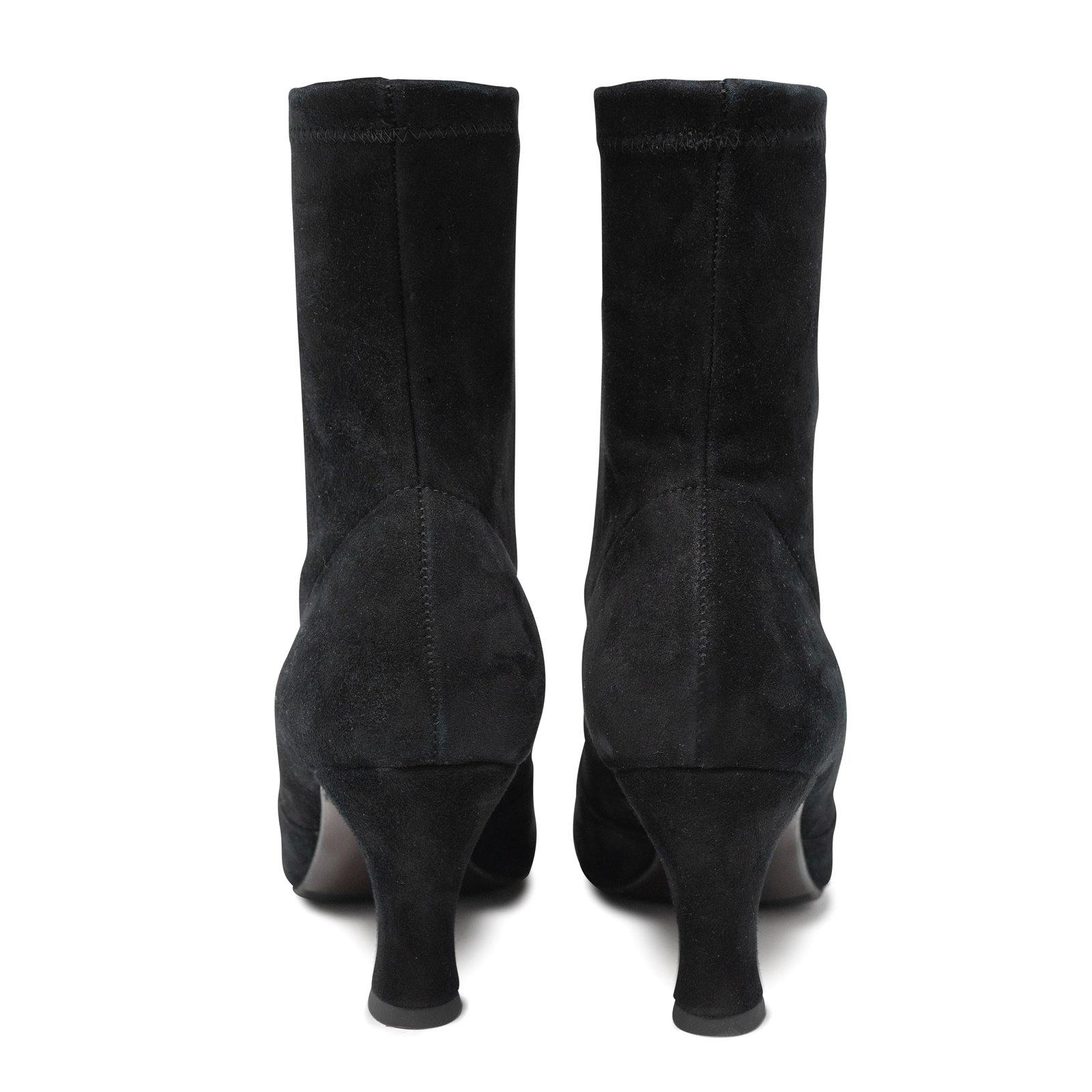 Women Suede Sock Booties in Black
