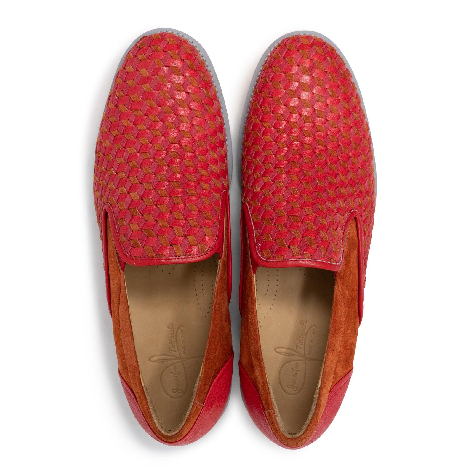 Men Slip On Leather Shoes in Blood Red Suede