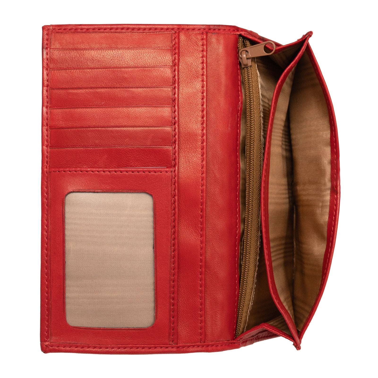 Women Intrecciato Red Large Leather Wallet with Horsebit - Jennifer Tattanelli
