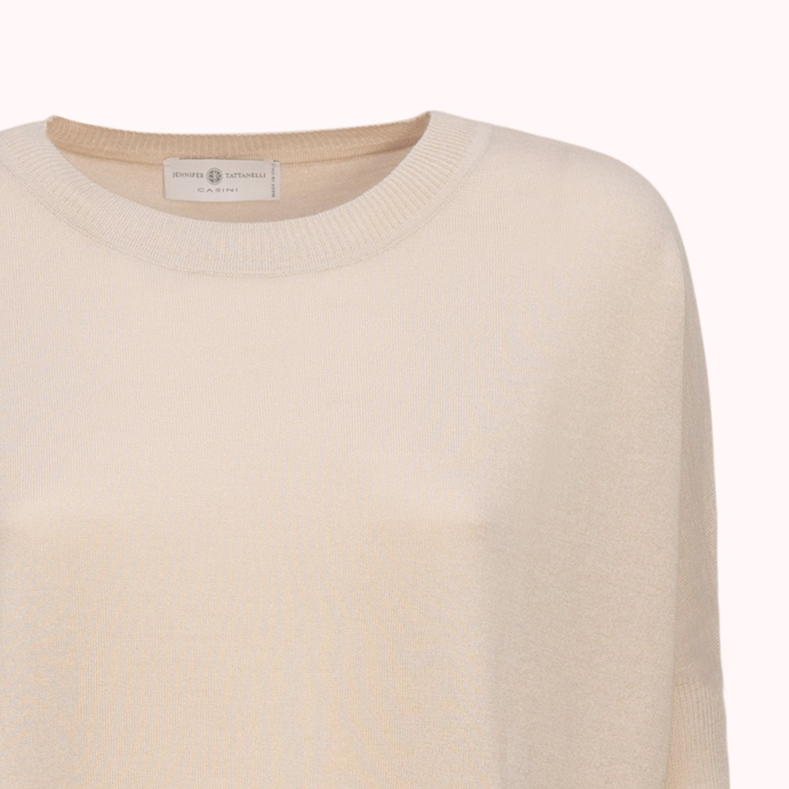 Women Loose Ribbed Sweater in Ice - Jennifer Tattanelli