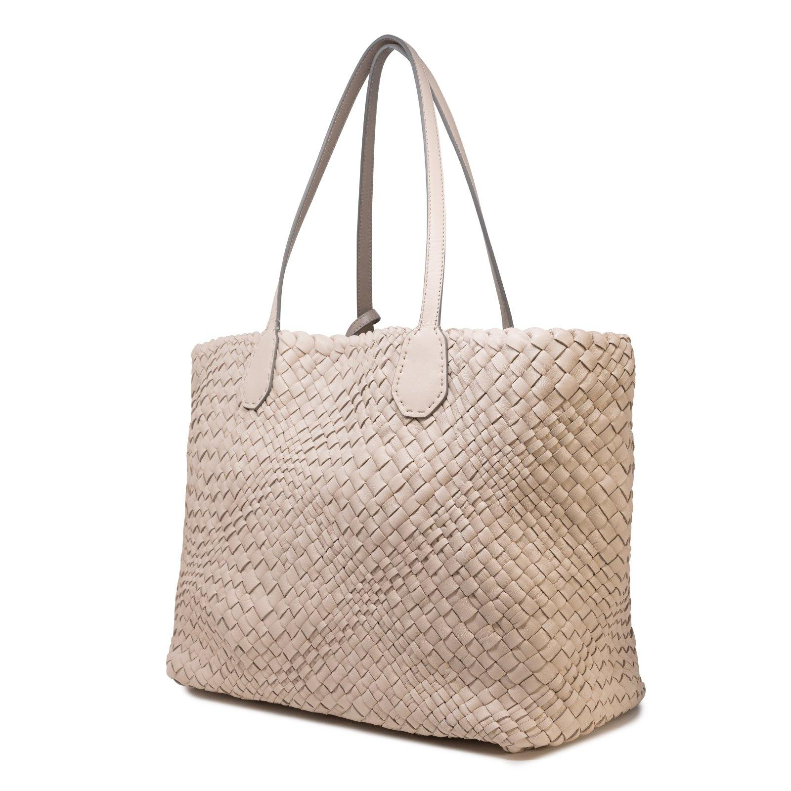 Women Leather Intreccio Optical Bag in Sabbia and Taupe