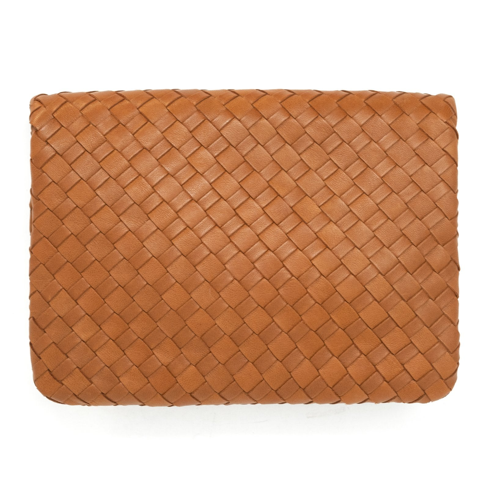 Women Intrecciato Leather Soft Flap Pouch Cuoio Intreccio Quadro - Jennifer Tattanelli