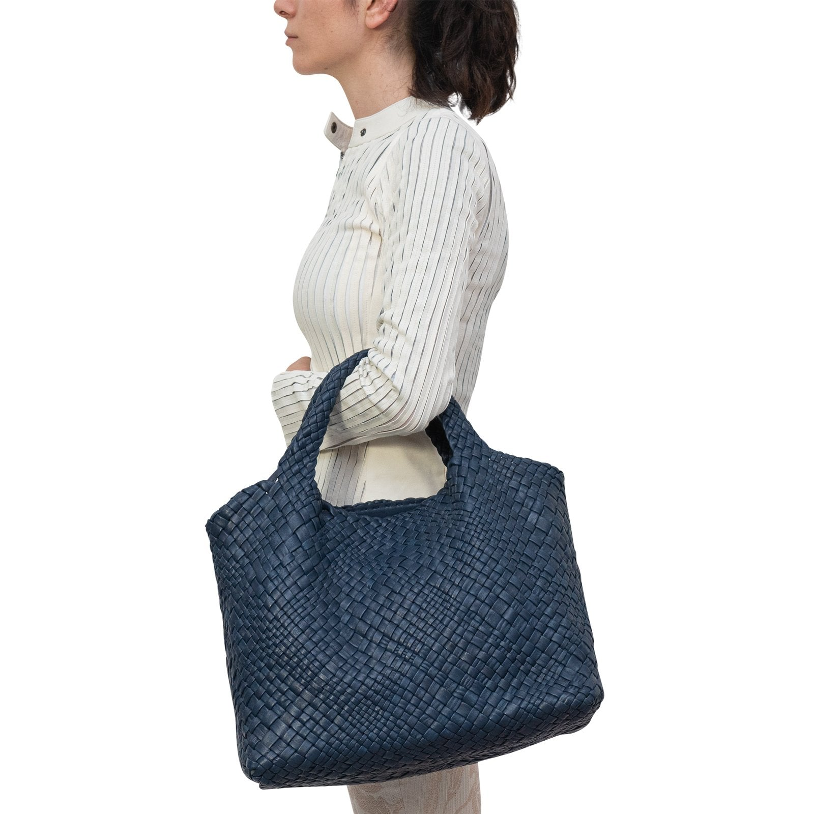 Women Intrecciato Optical Large Hobo-Tote in Navy Blue - Jennifer Tattanelli