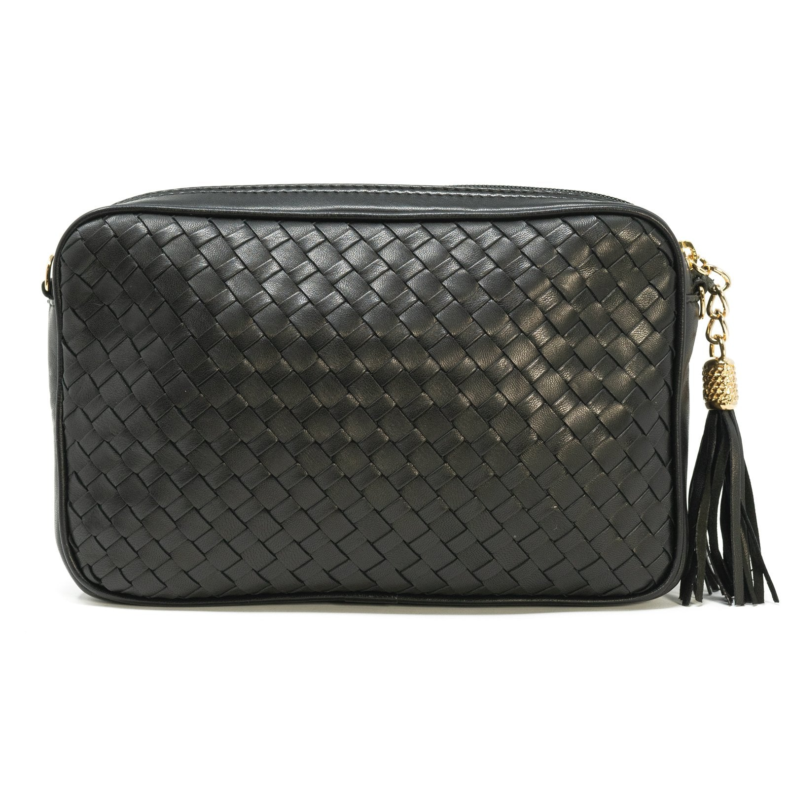 Women Intrecciato Leather Soft Zippered Clutch with Shoulder Chain Black Intreccio Quadro - Jennifer Tattanelli