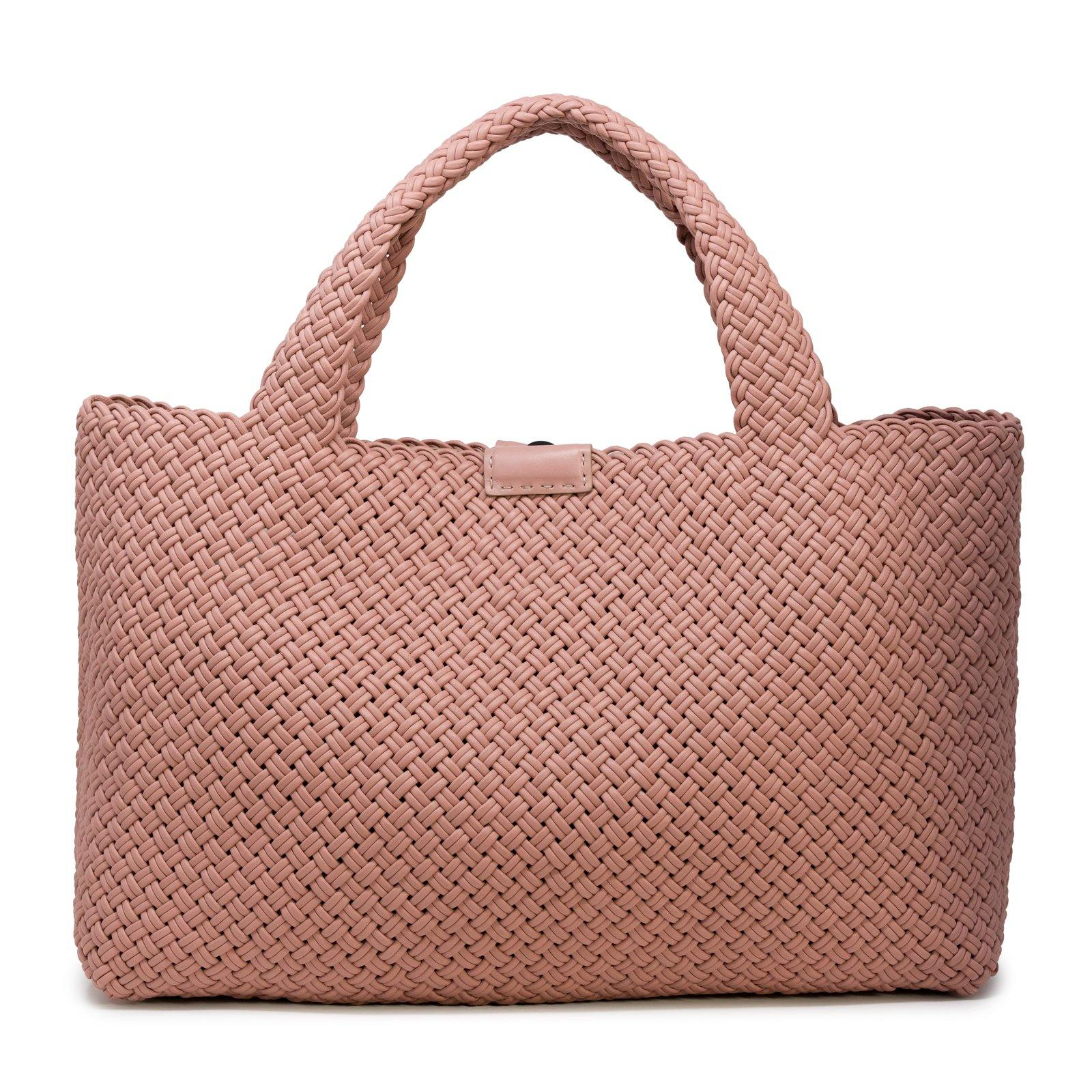 Women Leather Pink Intreccio Fettuccina Bag