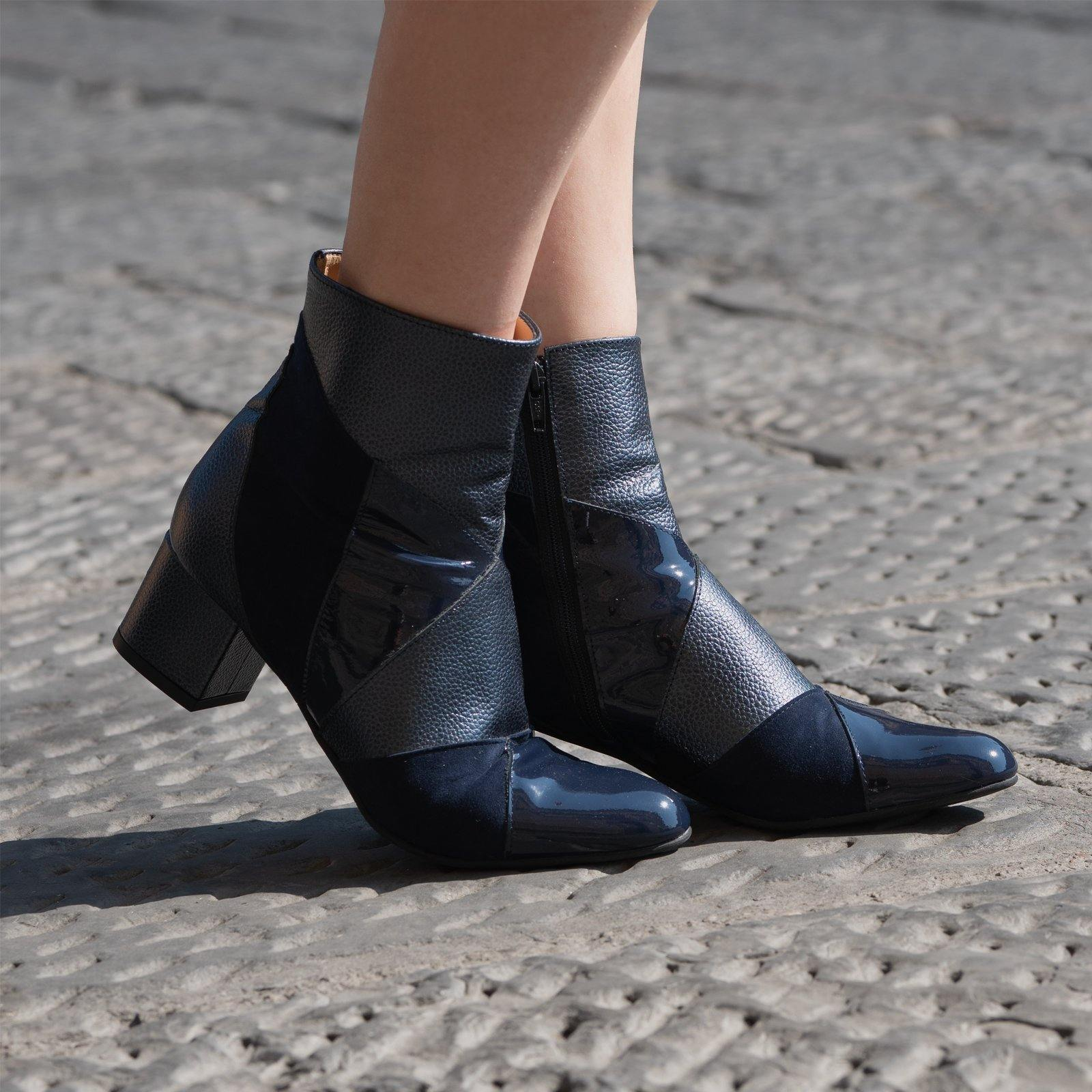 Women Dressy Leather Booties in Metallic Blue - Jennifer Tattanelli