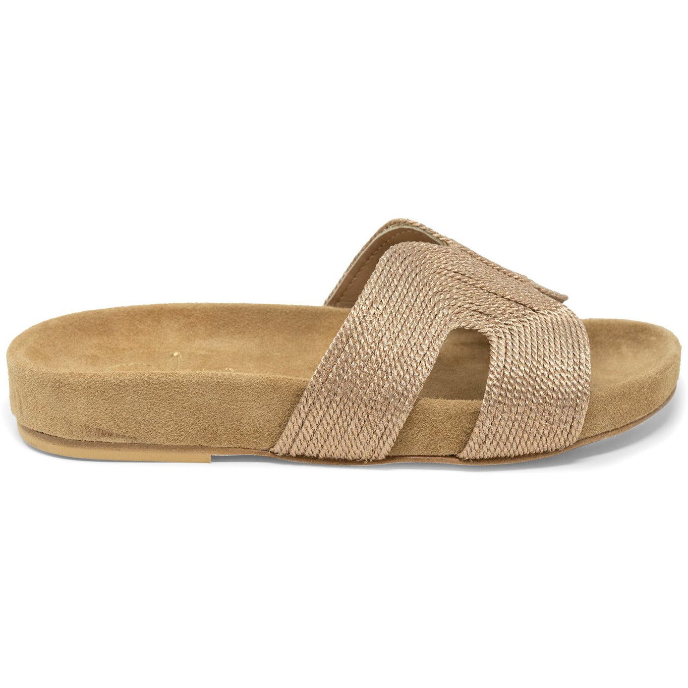 Women Slip On Suede Sandals in Bronze - Jennifer Tattanelli