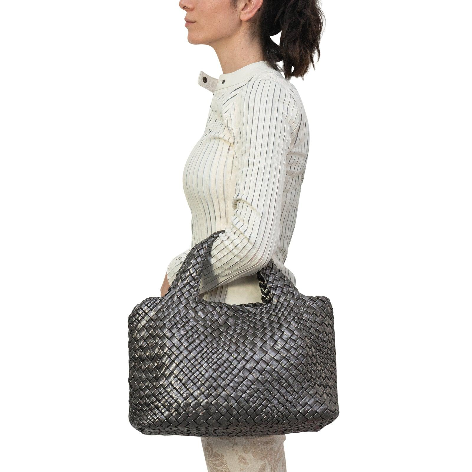 Women Intrecciato Optical Medium Hobo-Tote in Steel - Jennifer Tattanelli