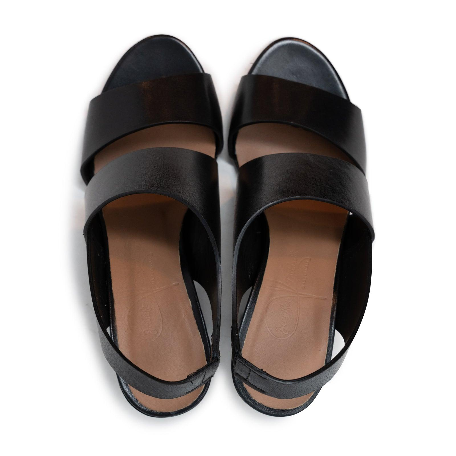 Women's 60' Leather Stripes Slip on Sandals in Black