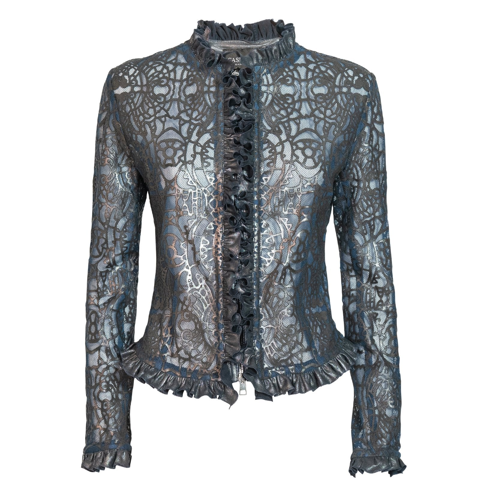 Women Laser-Cut Lingerie Leather Jacket - Jennifer Tattanelli
