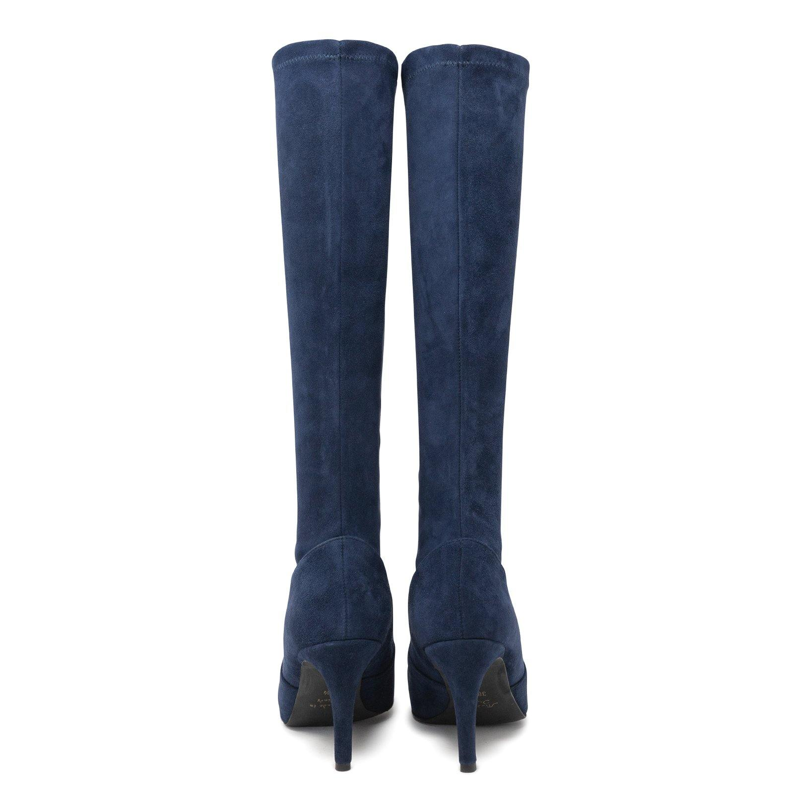 Women Suede Sock Boots in Navy Blue with thin heel