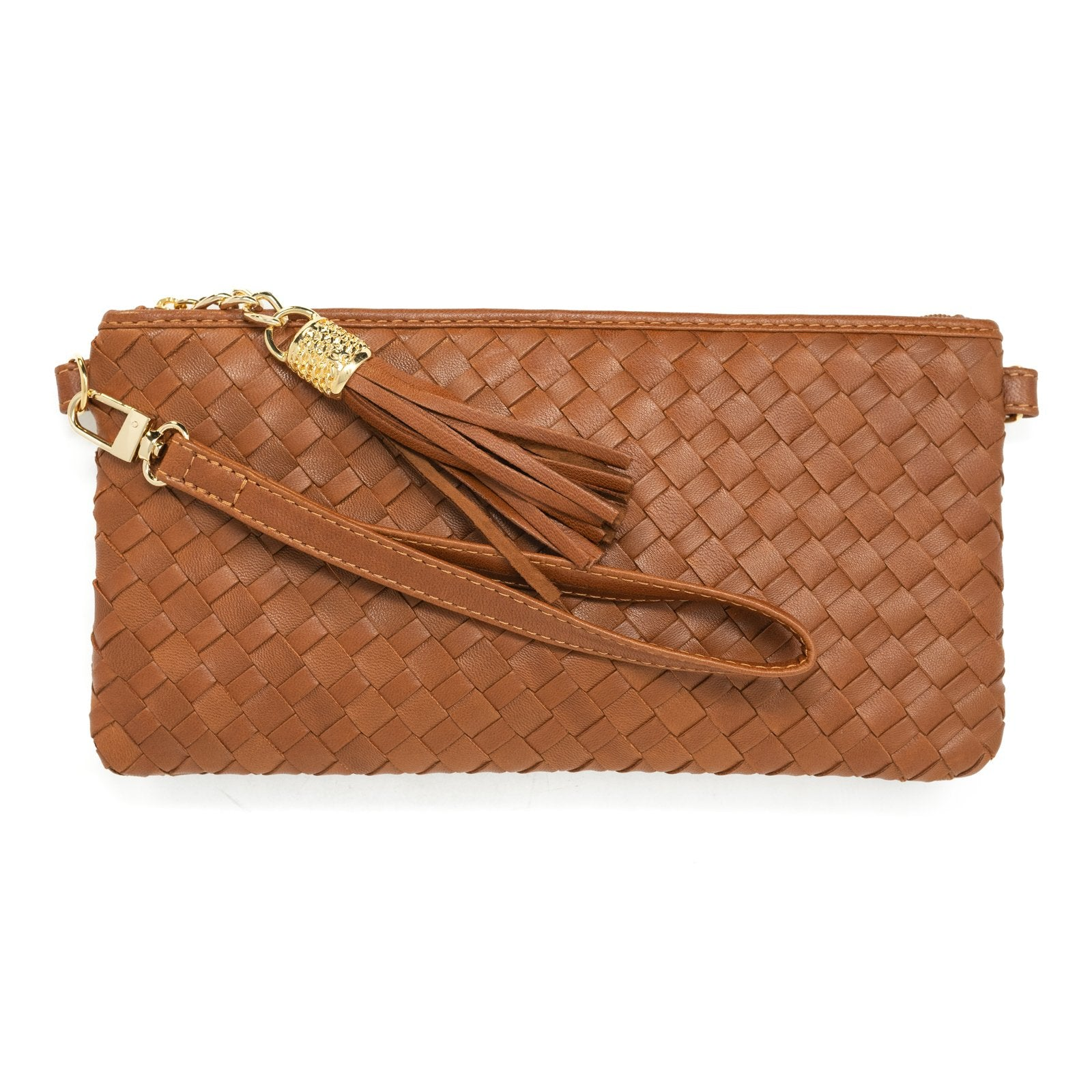 Women Intrecciato Leather Small Soft Clutch Cuoio Intreccio Quadro - Jennifer Tattanelli