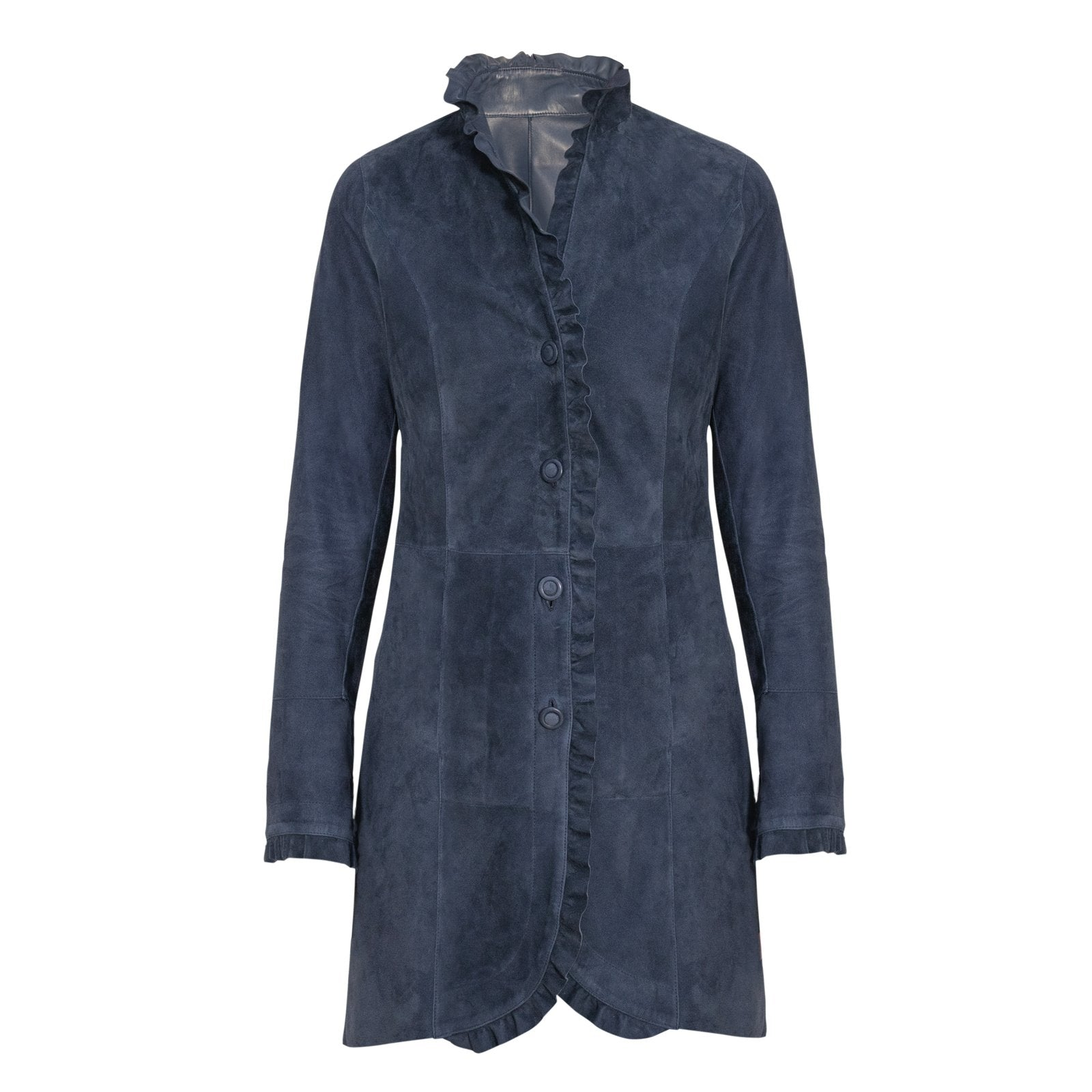 Women Reversible Leather Coat with ruffles in Blu - Jennifer Tattanelli