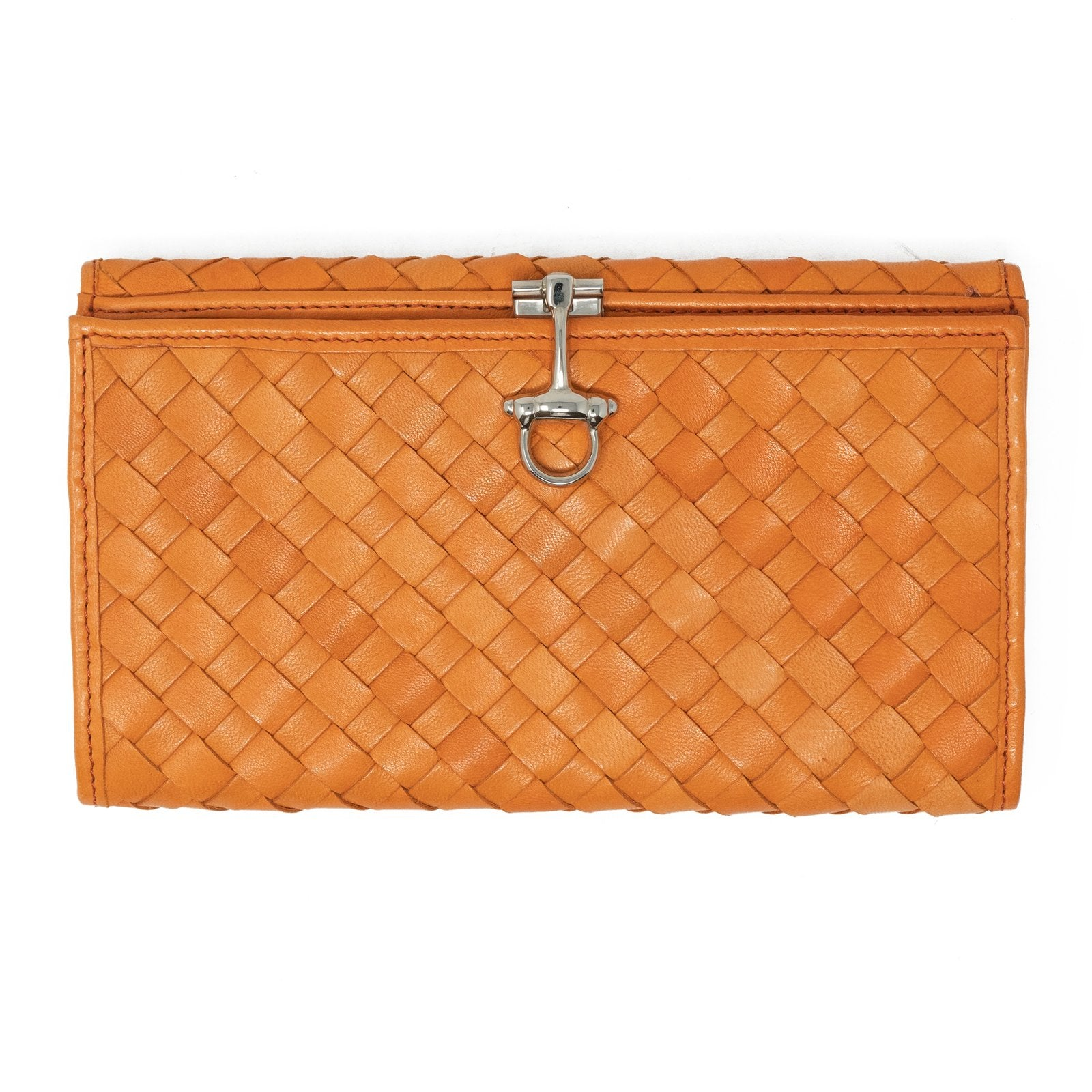 Women Intrecciato Orange Large Leather Wallet with Horsebit - Jennifer Tattanelli