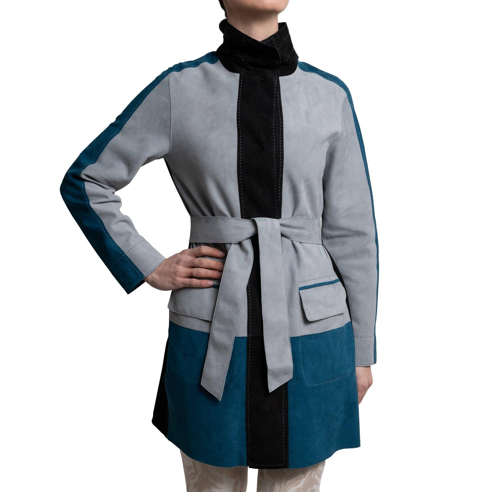 AURORA Reversible Leather Jacket in Black, Light Blue and Avio