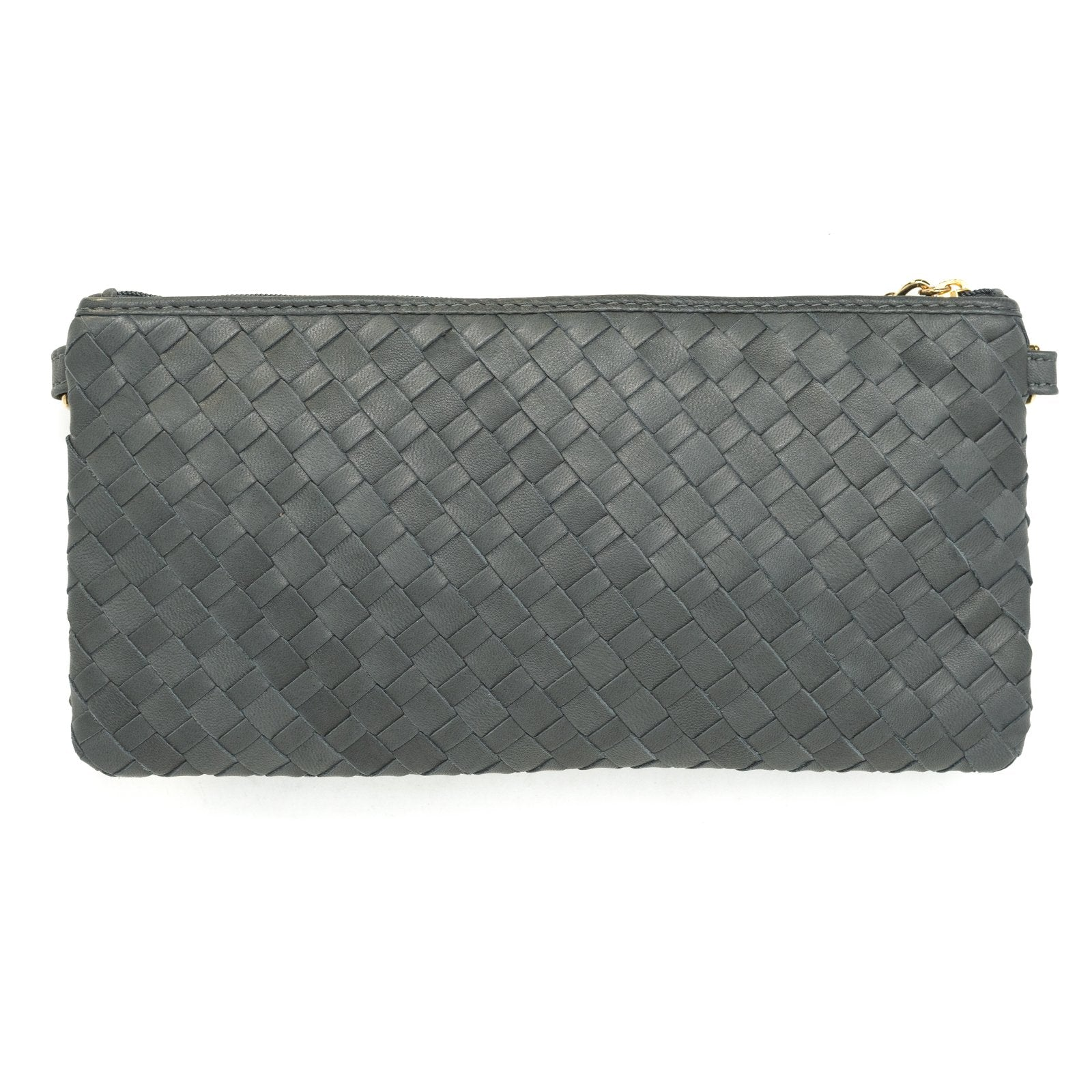Women Intrecciato Leather Small Soft Clutch Grey Intreccio Quadro - Jennifer Tattanelli
